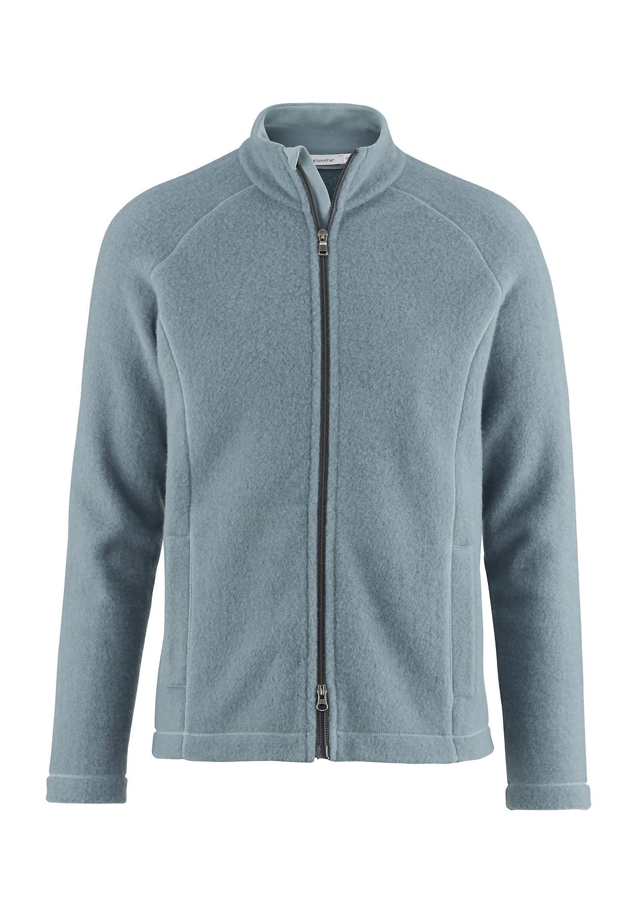 hessnatur Herren-Outdoor Herren Wollfleece-Jacke aus Bio-Schurwolle – grün – Größe 50
