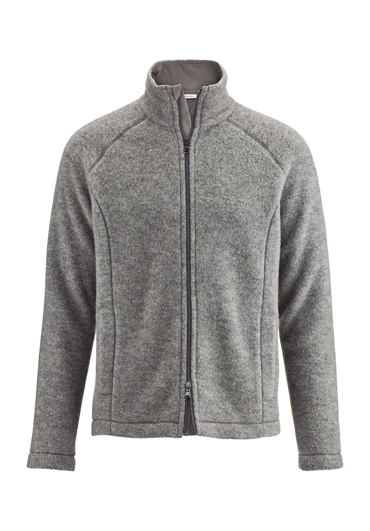 hessnatur Herren-Outdoor Herren Wollfleece-Jacke aus Bio-Schurwolle – grau – Größe 52