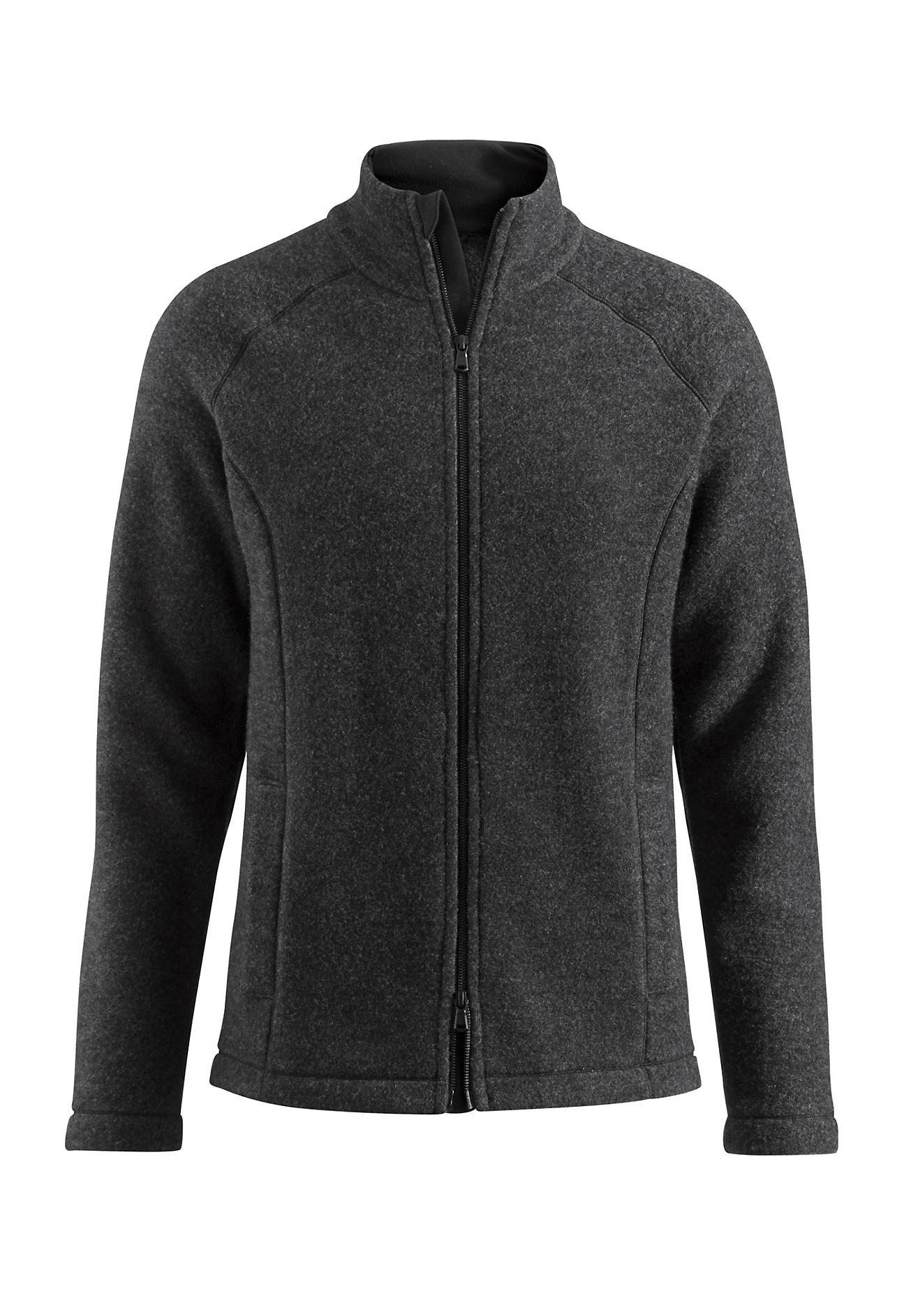 hessnatur Herren-Outdoor Herren Wollfleece-Jacke aus Bio-Schurwolle – schwarz – Größe 46