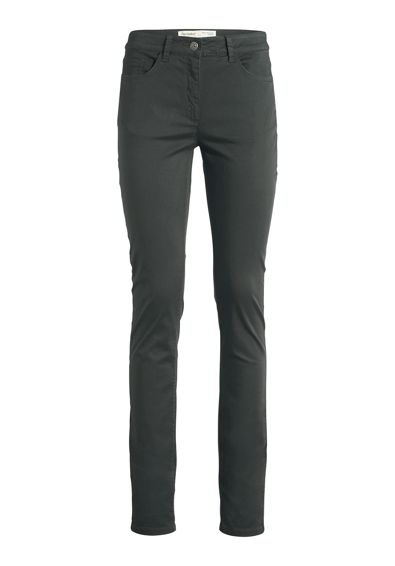 Hosen für Frauen - hessnatur Damen Hose Slim Fit aus Bio Baumwolle – grün –  - Onlineshop Hessnatur