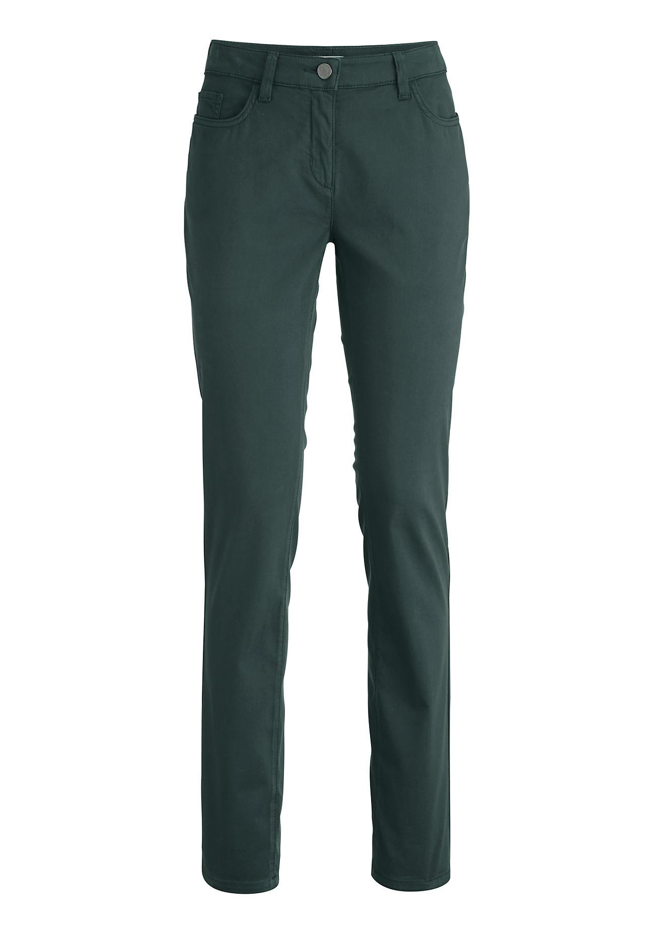 Hosen - hessnatur Damen Hose Slim Fit aus Bio Baumwolle – grün –  - Onlineshop Hessnatur