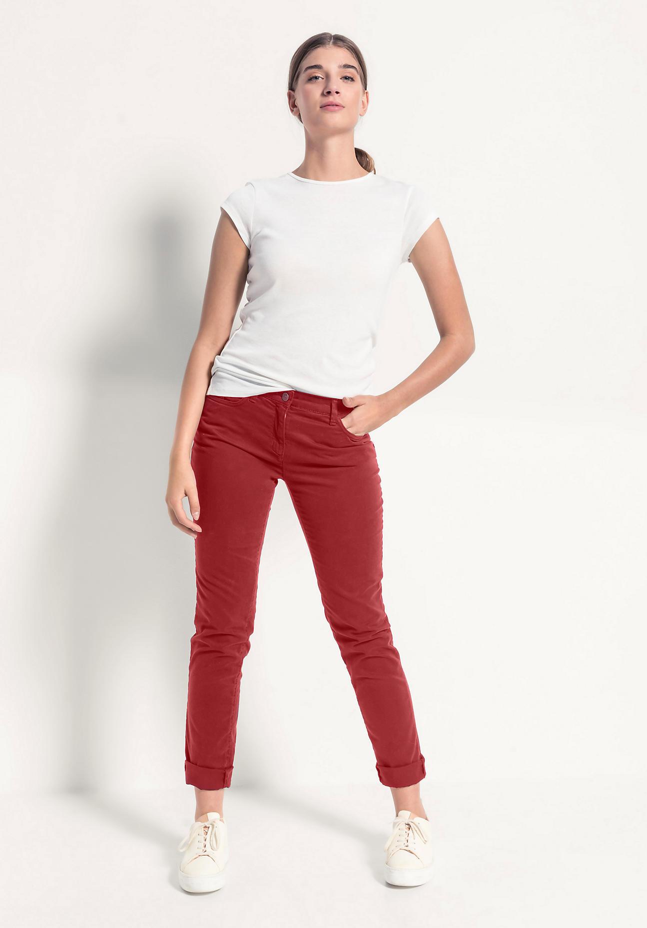 hessnatur Damen Hose Slim Fit aus Bio-Baumwolle - rot Größe 40