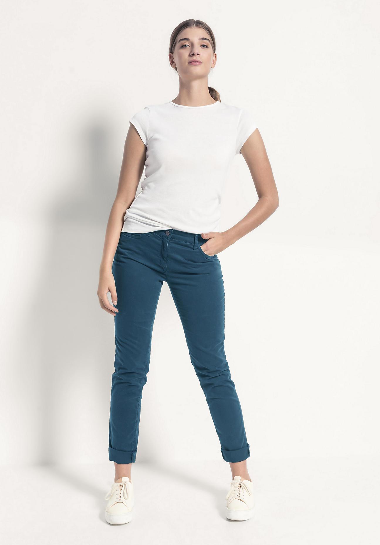 hessnatur Damen Hose Slim Fit aus Bio-Baumwolle - blau Größe 46