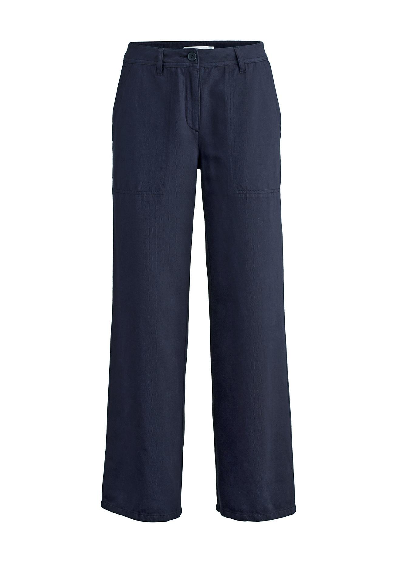 Hosen für Frauen - hessnatur Damen Hose aus Bio Baumwolle mit Leinen – blau –  - Onlineshop Hessnatur