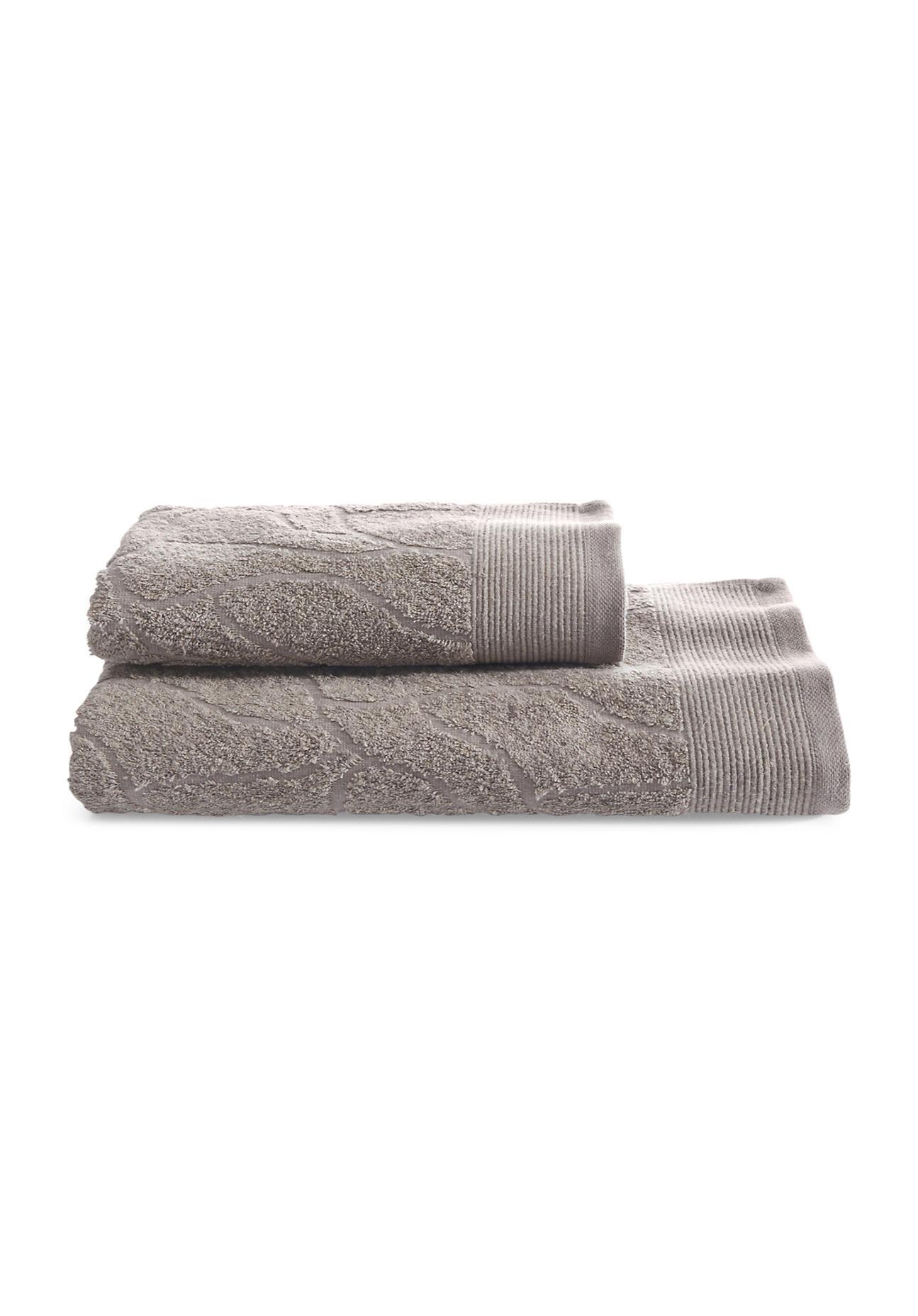 hessnatur Jacquard-Handtuch aus Bio-Baumwolle mit Leinen – grau – Größe 50x100 cm