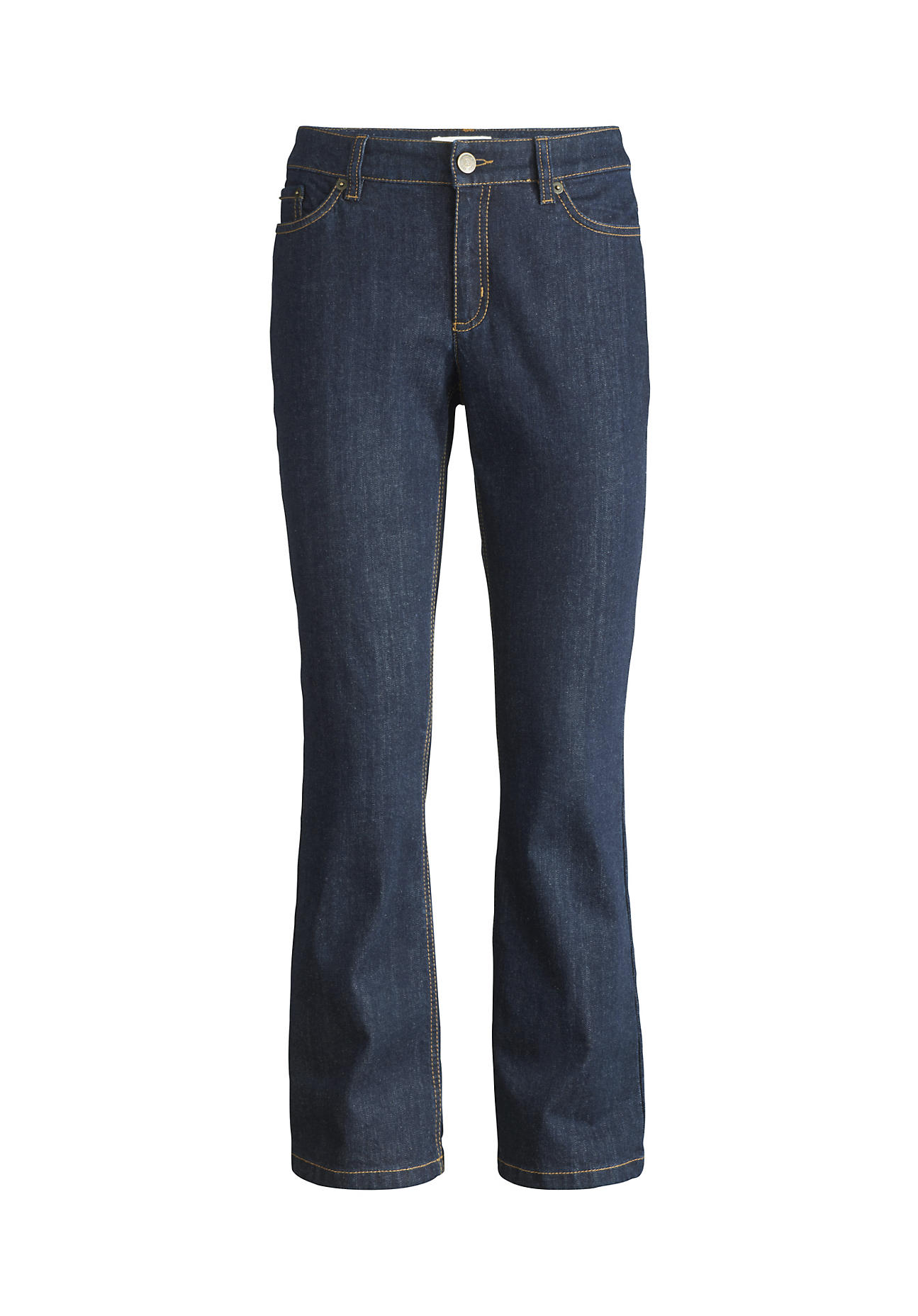 hessnatur Damen Jeans Baby Flared aus Bio-Baumwolle – blau – Größe 28/32