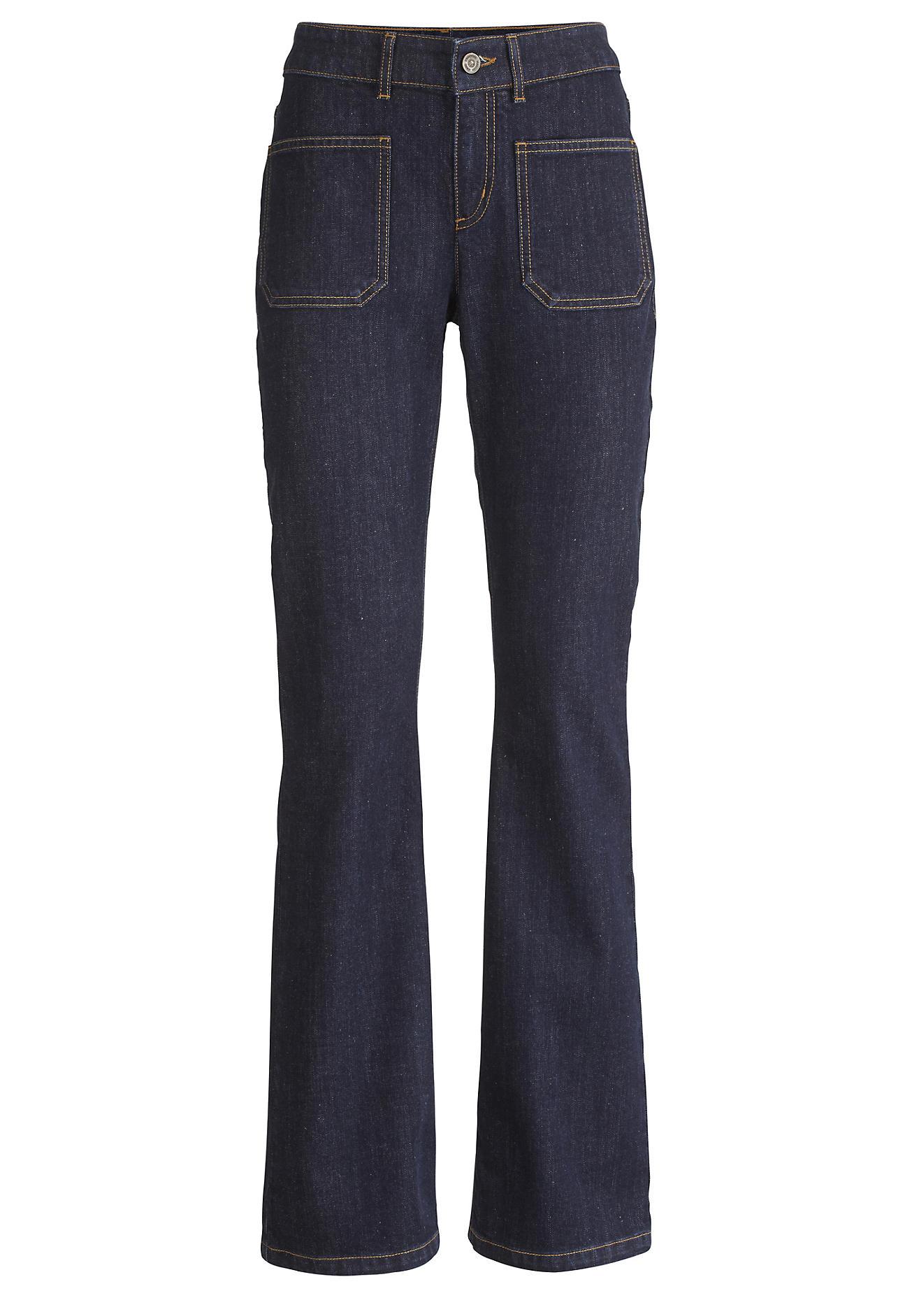 hessnatur Damen Jeans Bootcut aus Bio-Denim – blau – Größe 26/32