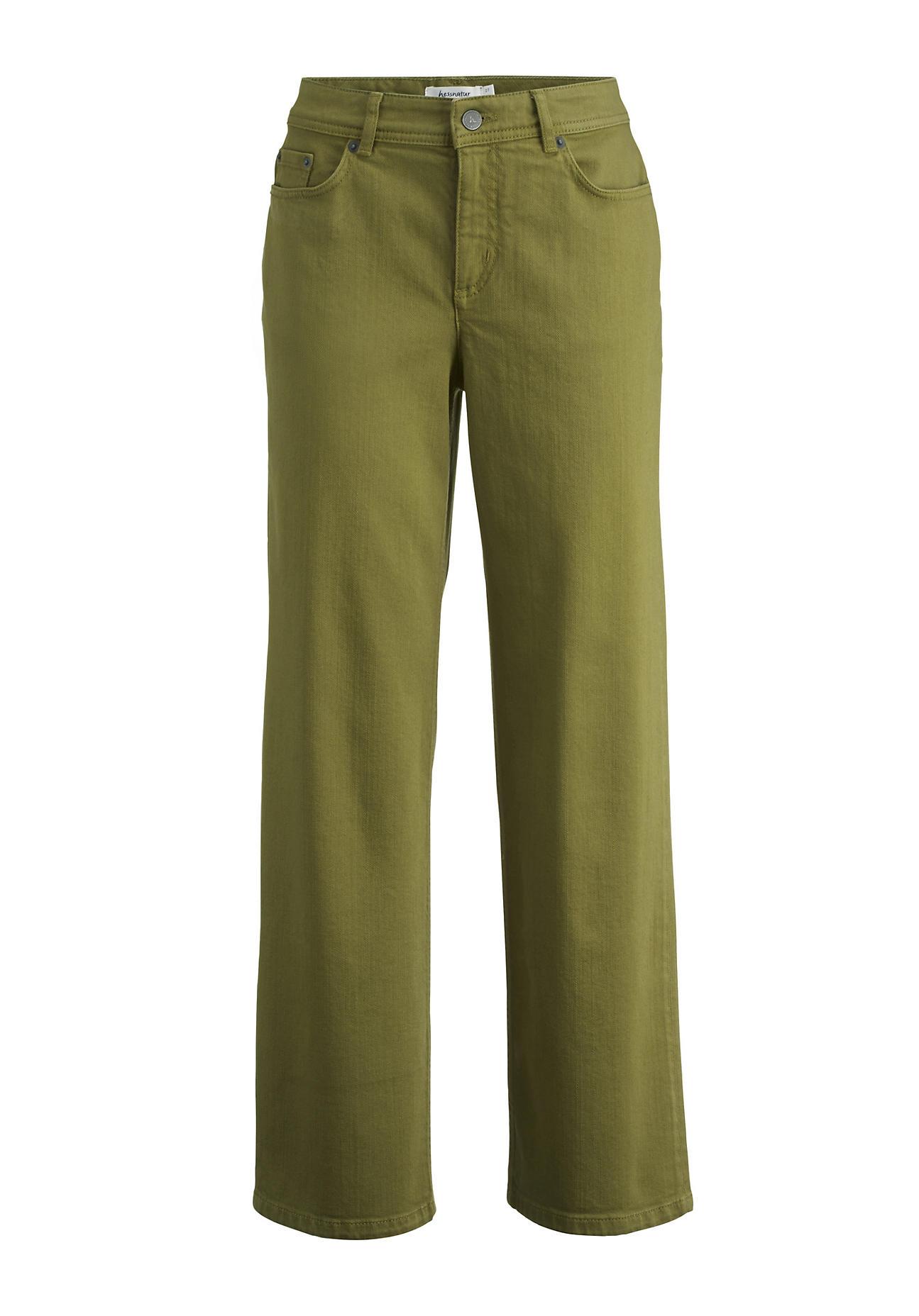 hessnatur Damen Jeans Culotte aus Bio-Denim – grün – Größe 27/32