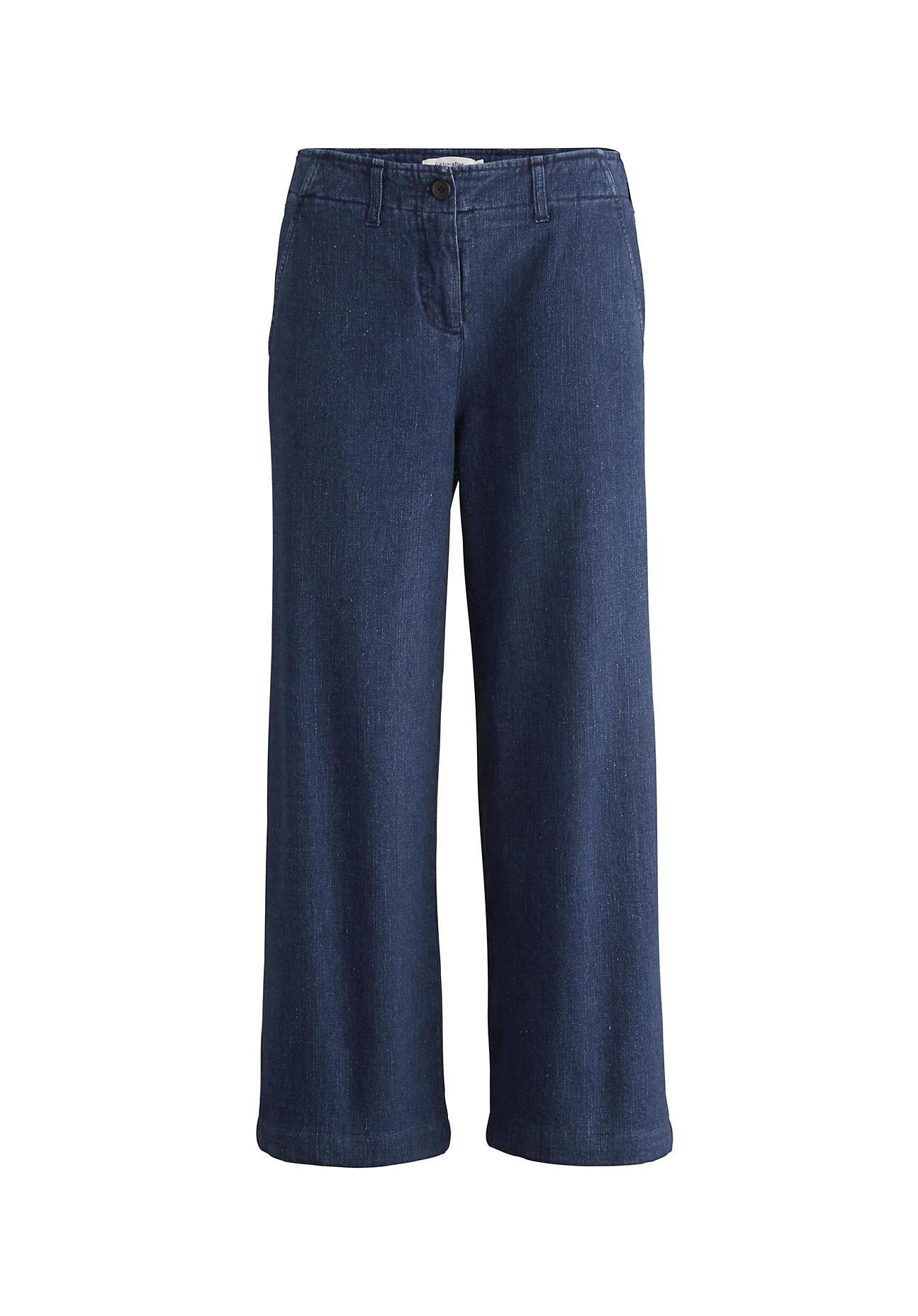 Hosen - hessnatur Damen Jeans Culotte aus Hanf mit Bio Baumwolle – blau –  - Onlineshop Hessnatur