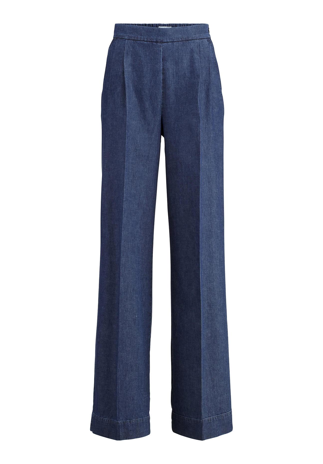 Hosen - hessnatur Damen Jeans Flared aus Bio Baumwolle mit Leinen – blau –  - Onlineshop Hessnatur