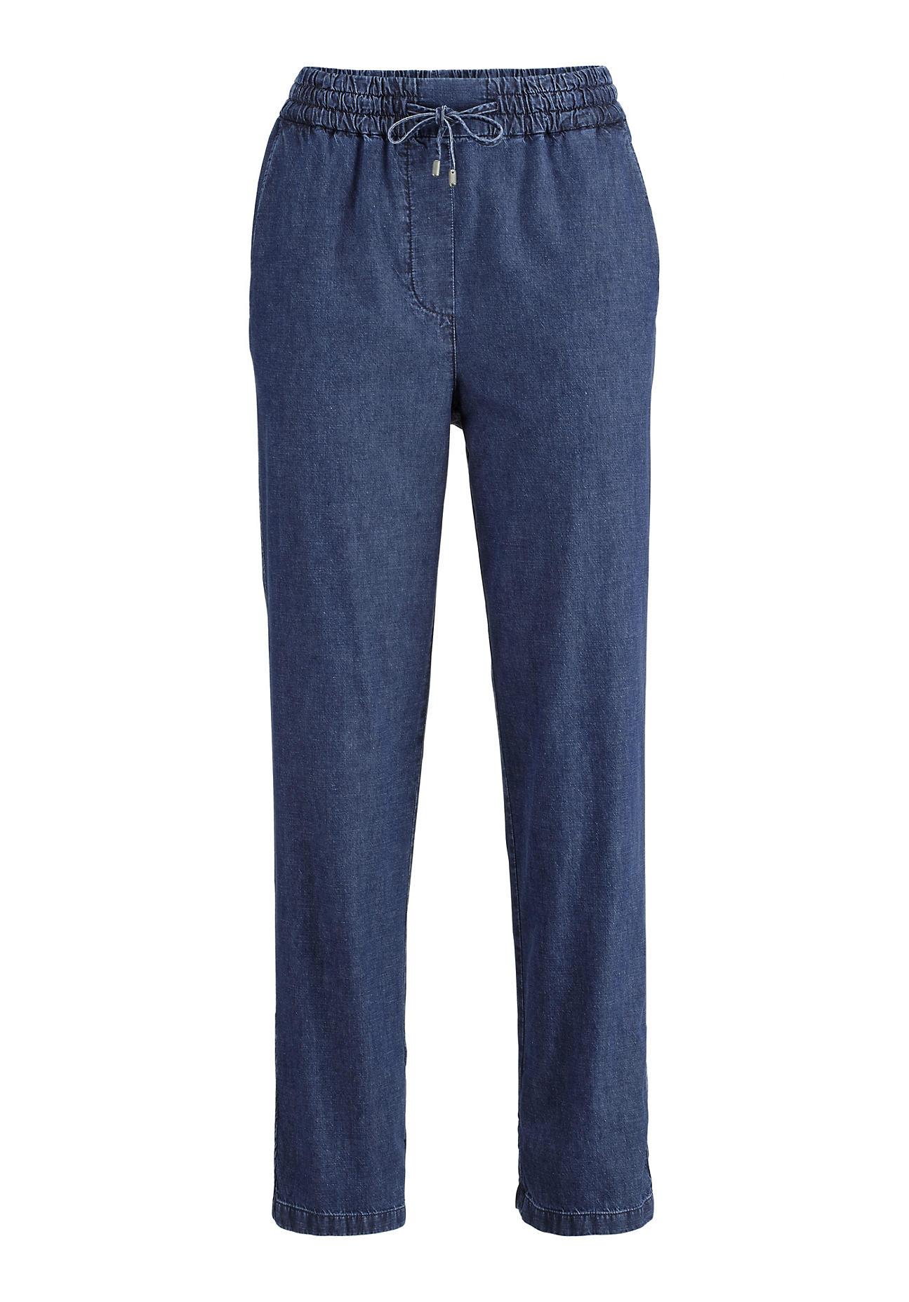 Hosen - hessnatur Damen Jeans Joggpant aus Bio Baumwolle mit Leinen – blau –  - Onlineshop Hessnatur