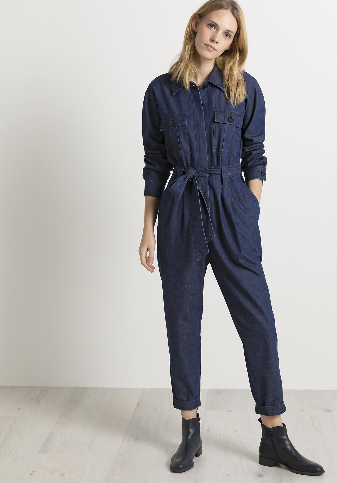 hessnatur Damen Jeans-Overall aus Bio-Baumwolle mit Leinen - blau Größe 36