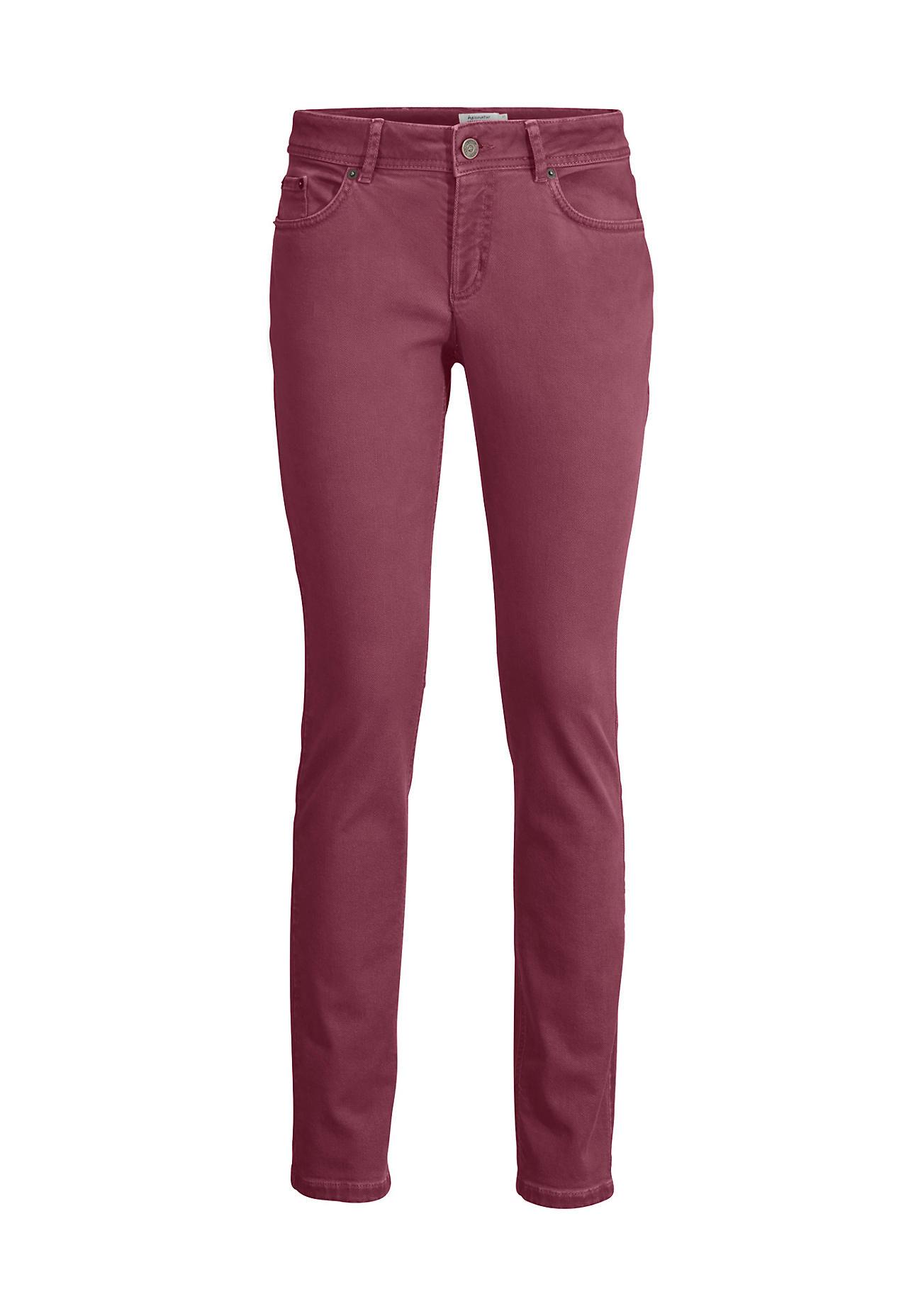 hessnatur -  Damen Jeans Slim Fit Coloured Denim aus Bio-Baumwolle – lila – Größe 34/34
