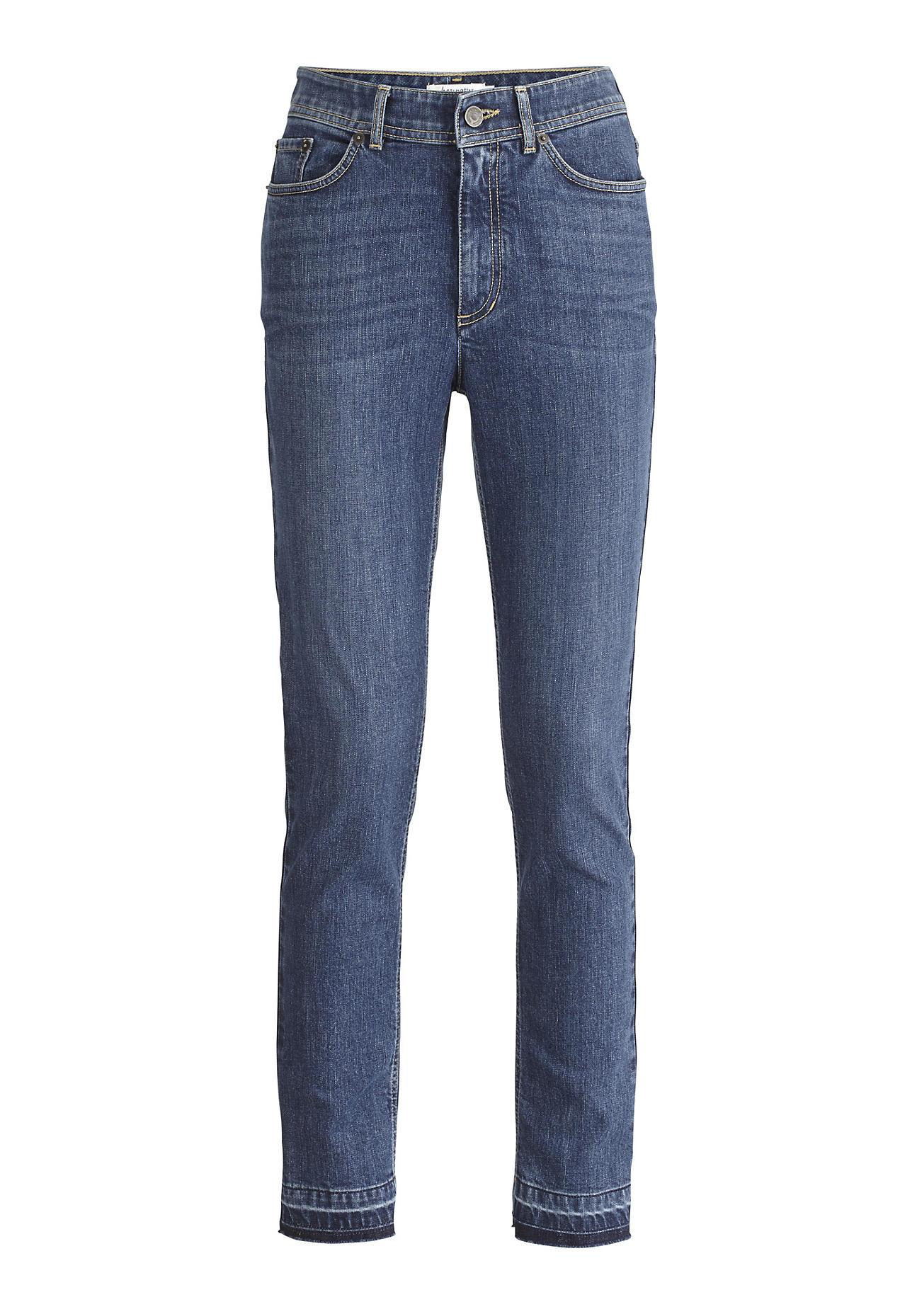 hessnatur Damen Jeans Slim Fit Mid Waist aus Bio-Denim – blau – Größe 38/32