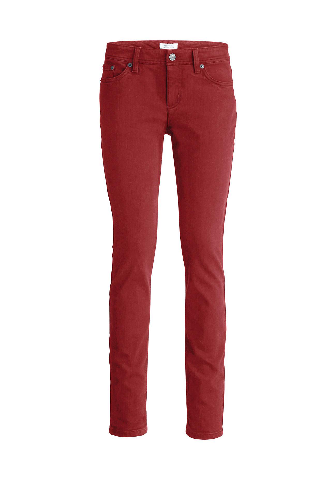 hessnatur Damen Jeans Slim Fit aus Bio-Baumwolle – rot – Größe 29/34