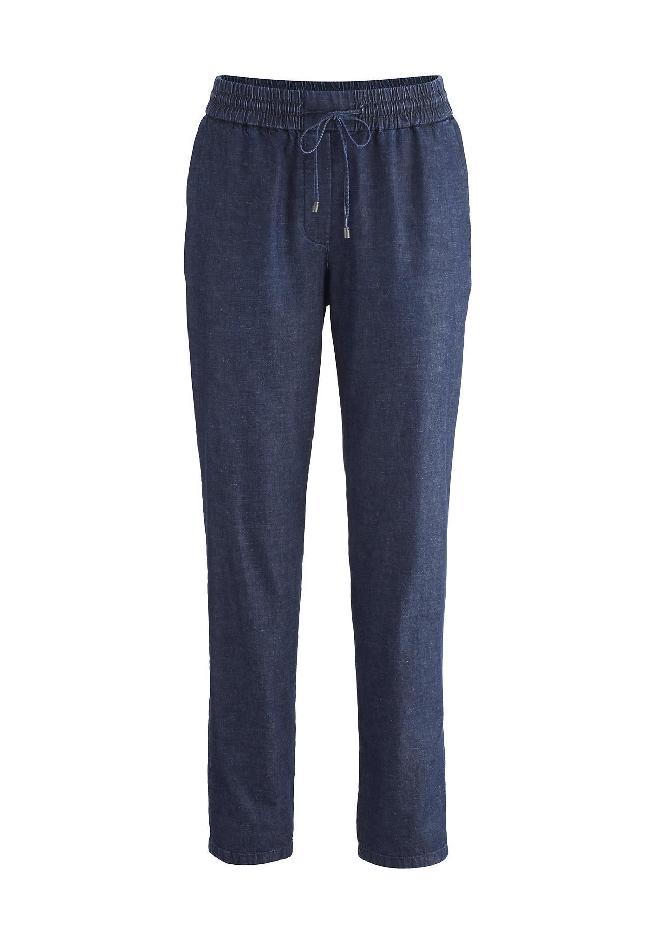 Hosen - hessnatur Damen Jeans aus Bio Baumwolle mit Leinen – blau –  - Onlineshop Hessnatur