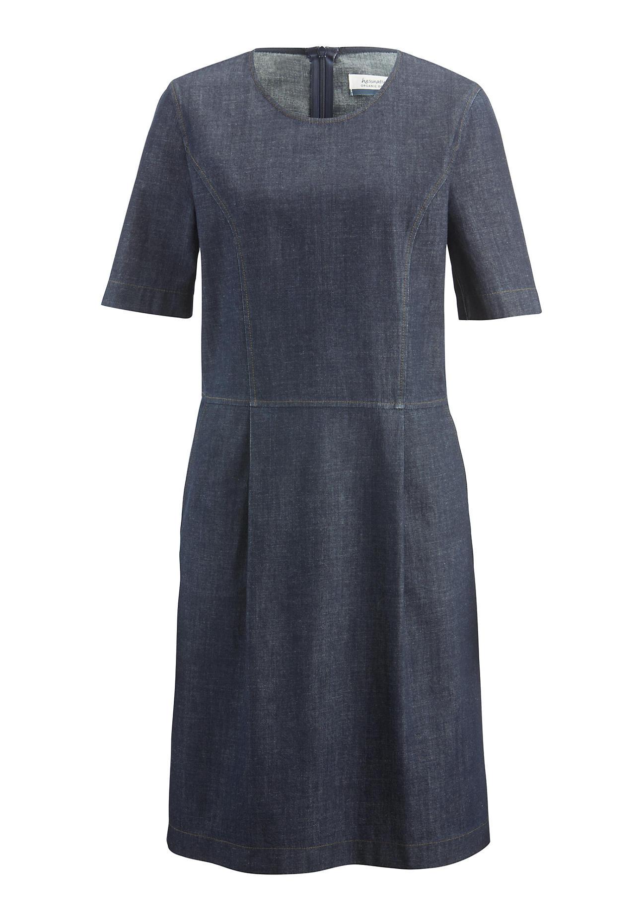 hessnatur Damen Jeanskleid aus Bio-Baumwolle – blau – Größe 38