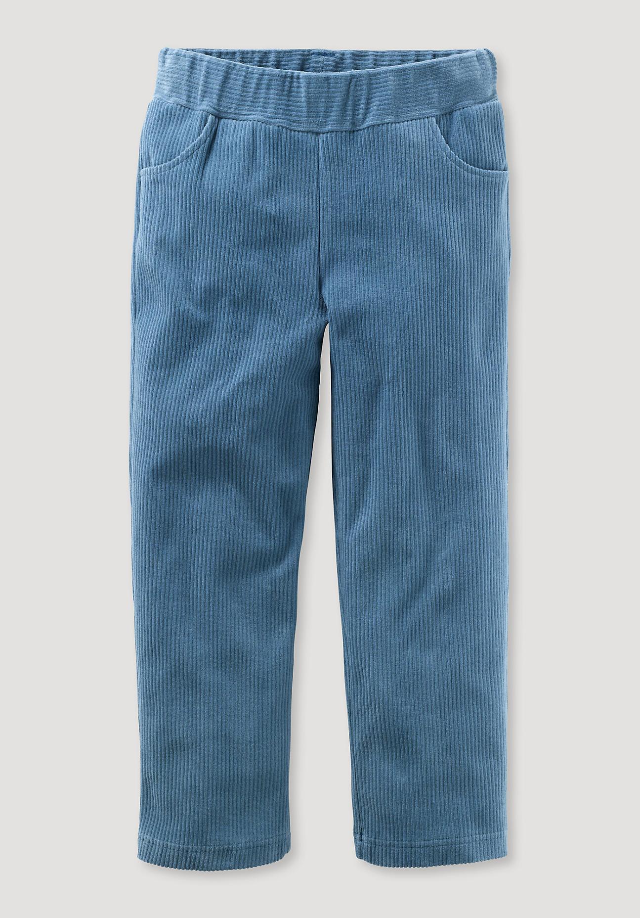 hessnatur Kinder Jersey-Cordhose aus Bio-Baumwolle - blau Größe 98
