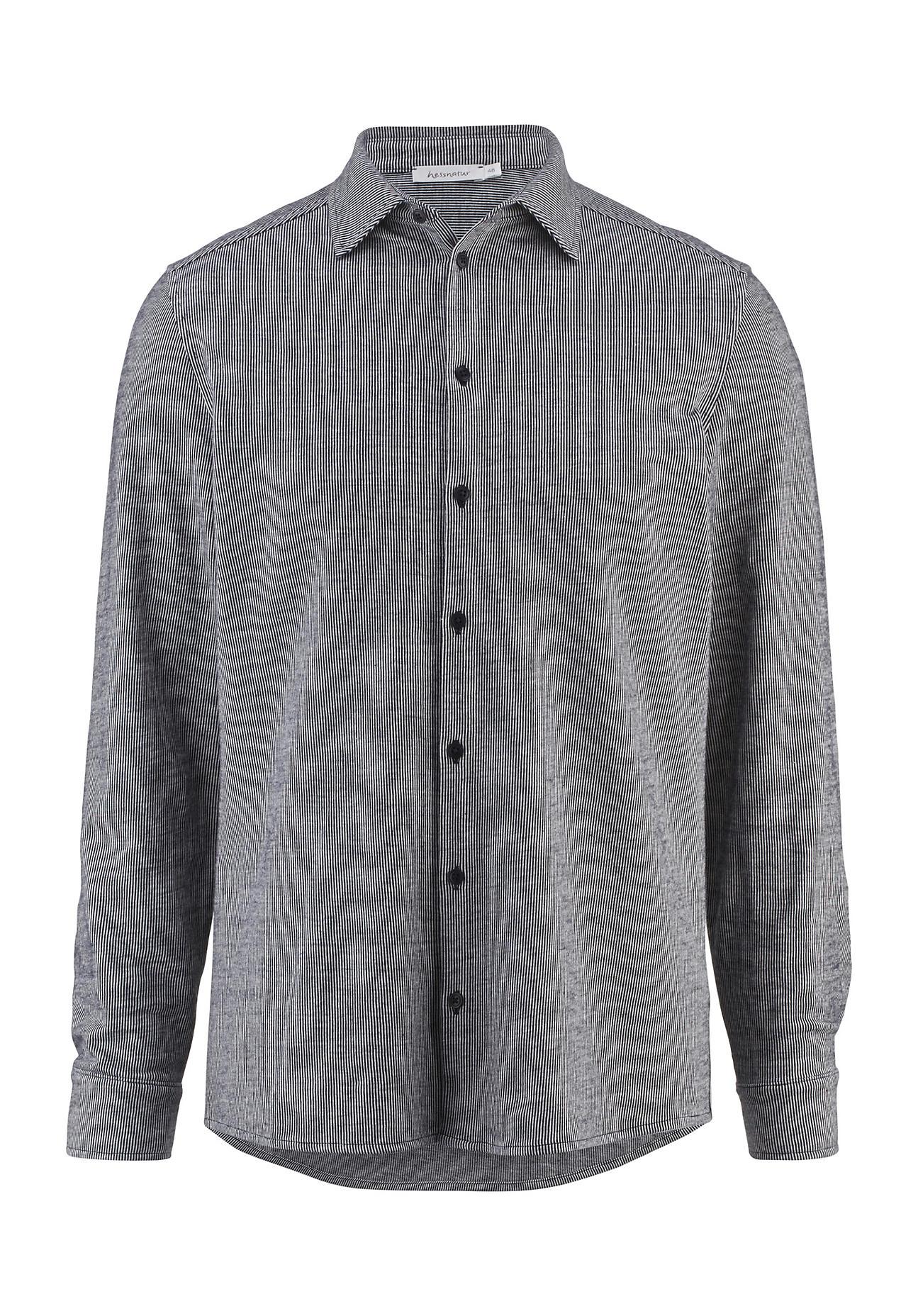 hessnatur Herren Jersey-Hemd Modern Fit aus Bio-Baumwolle – blau – Größe 46