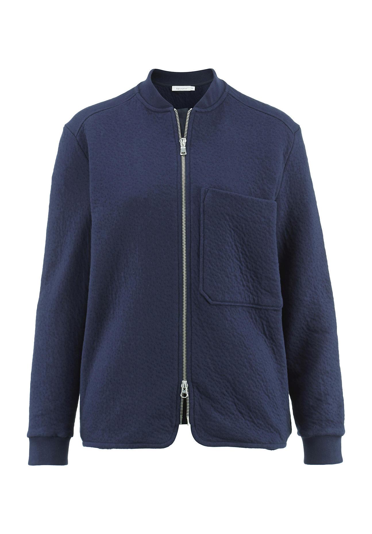 hessnatur Damen Jersey-Jacke aus Bio-Baumwolle – blau – Größe 36