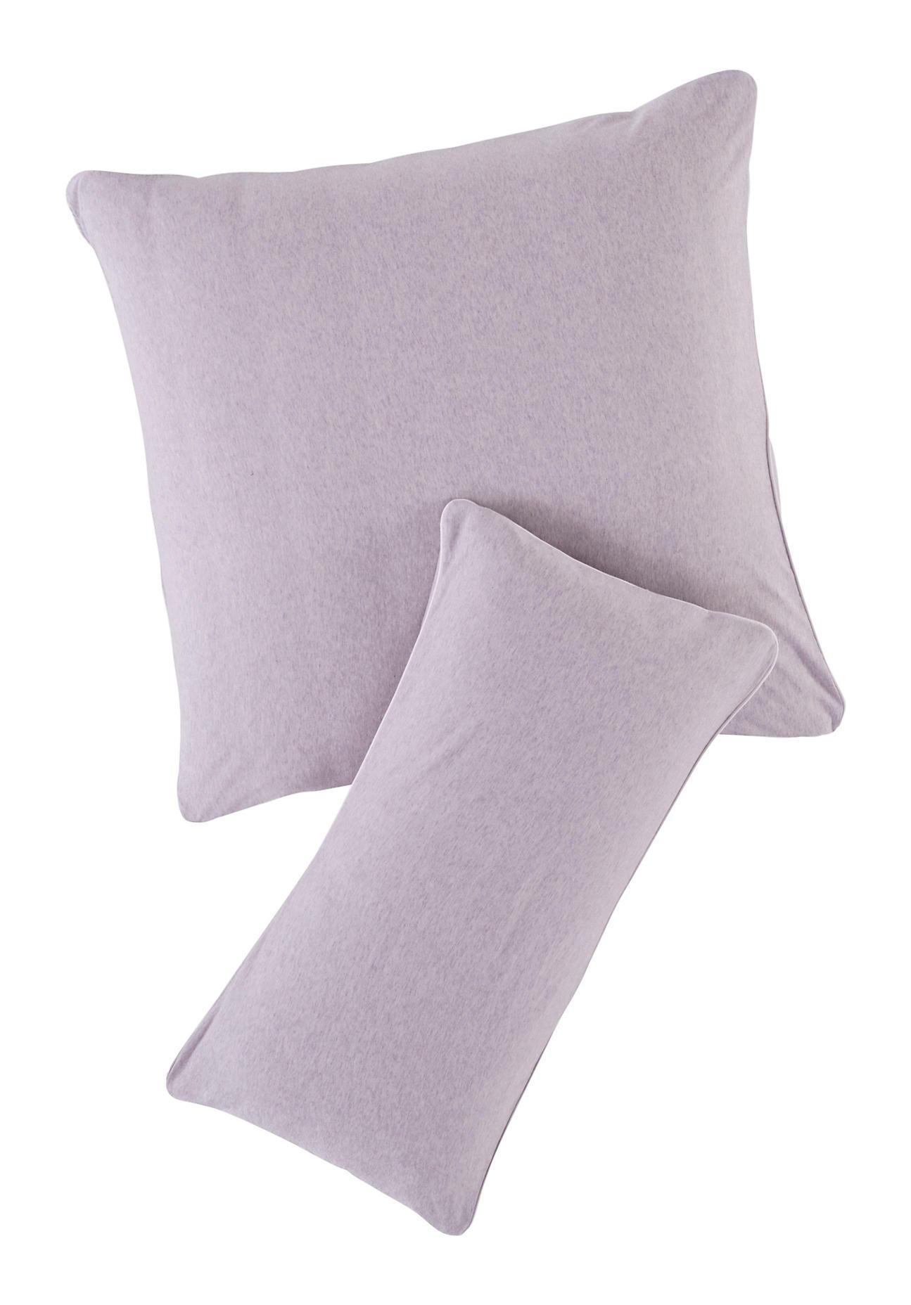 hessnatur Jersey Kissenbezug Liam aus Bio-Baumwolle – lila – Größe 40x80 cm