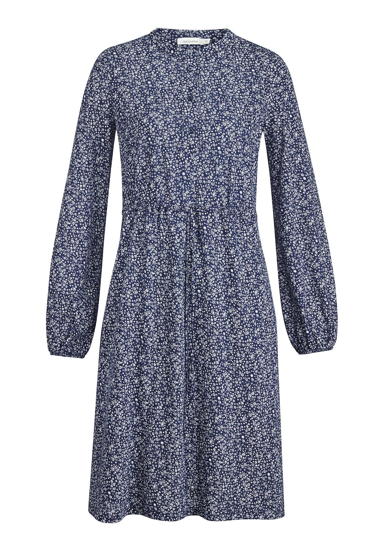 hessnatur Damen Jersey-Kleid aus Bio-Baumwolle – blau – Größe 34