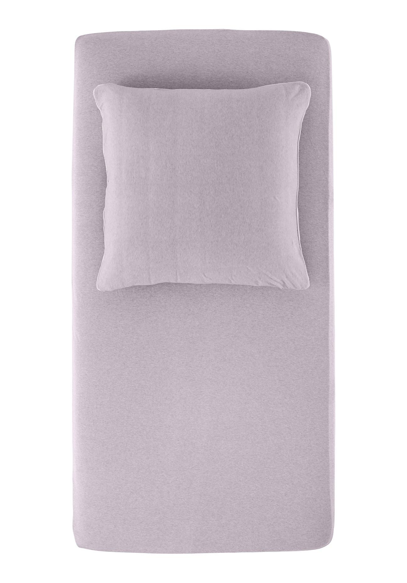hessnatur Jersey-Spannbettlaken Liam aus Bio-Baumwolle – lila – Größe 90-100x200 cm