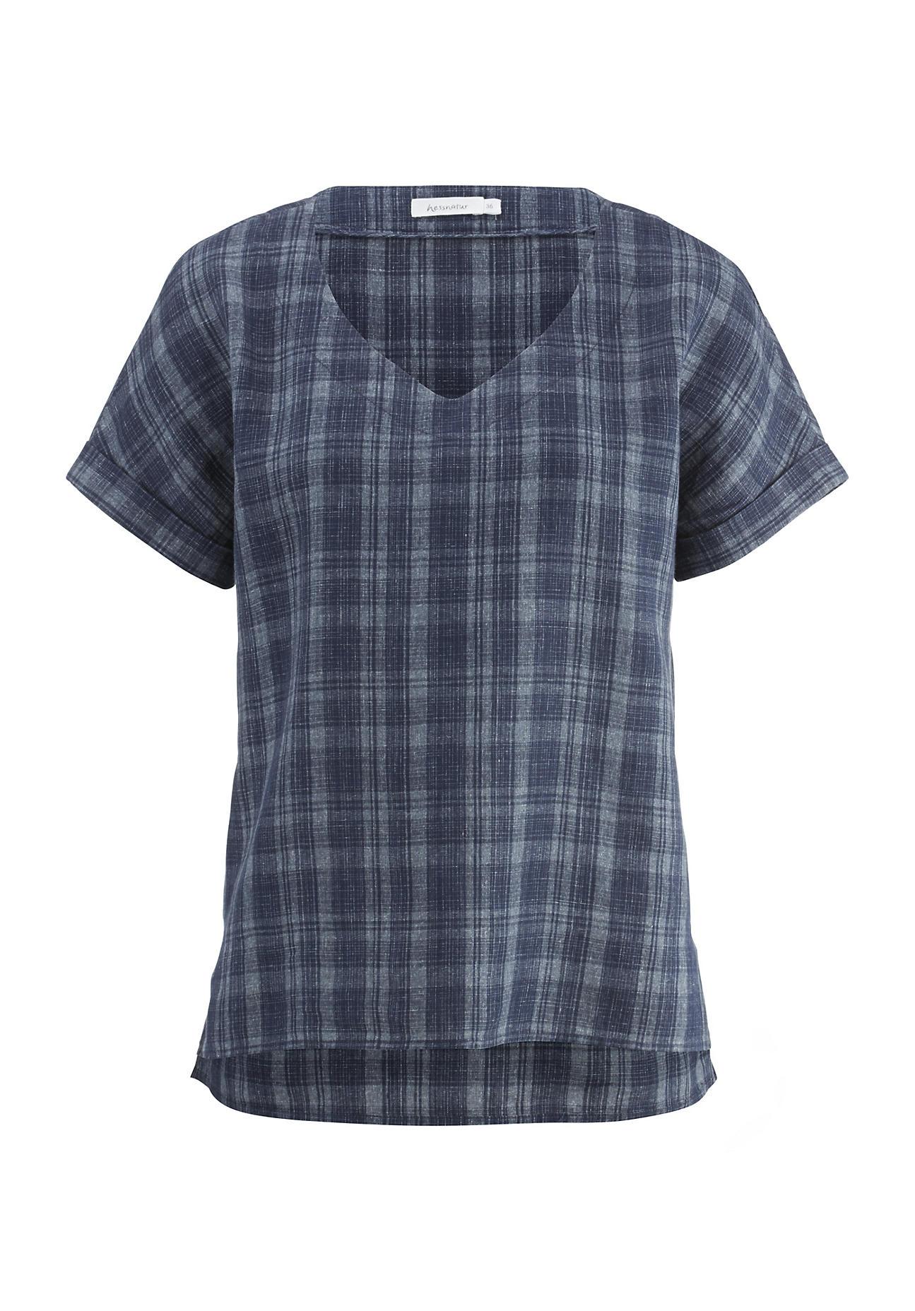 hessnatur Damen Karo-Bluse aus Leinen mit Baumwolle – blau – Größe 36 | Bekleidung > Blusen > Karoblusen | hessnatur