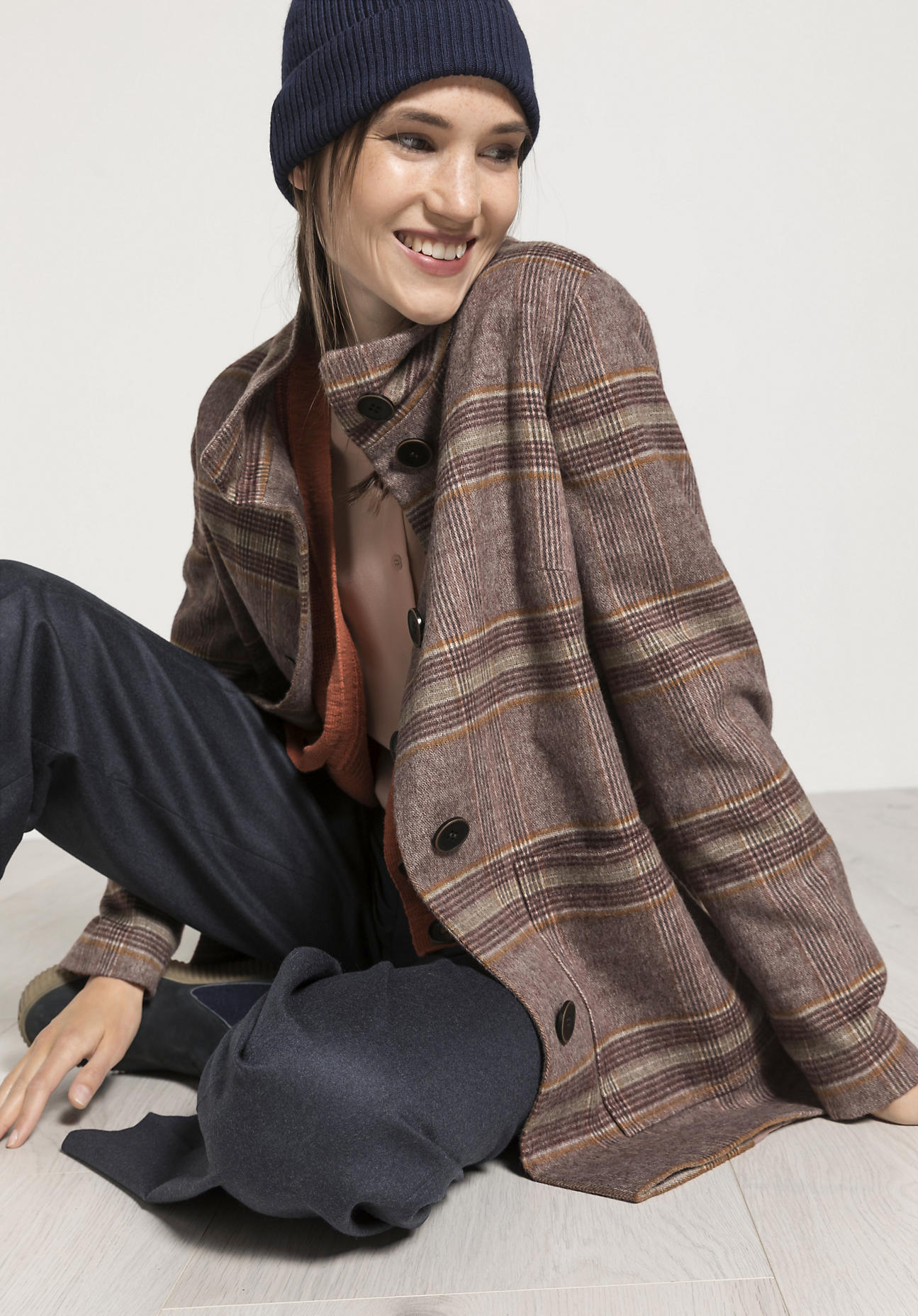 hessnatur Damen Karo-Jacke aus Schurwolle - grau Größe 36