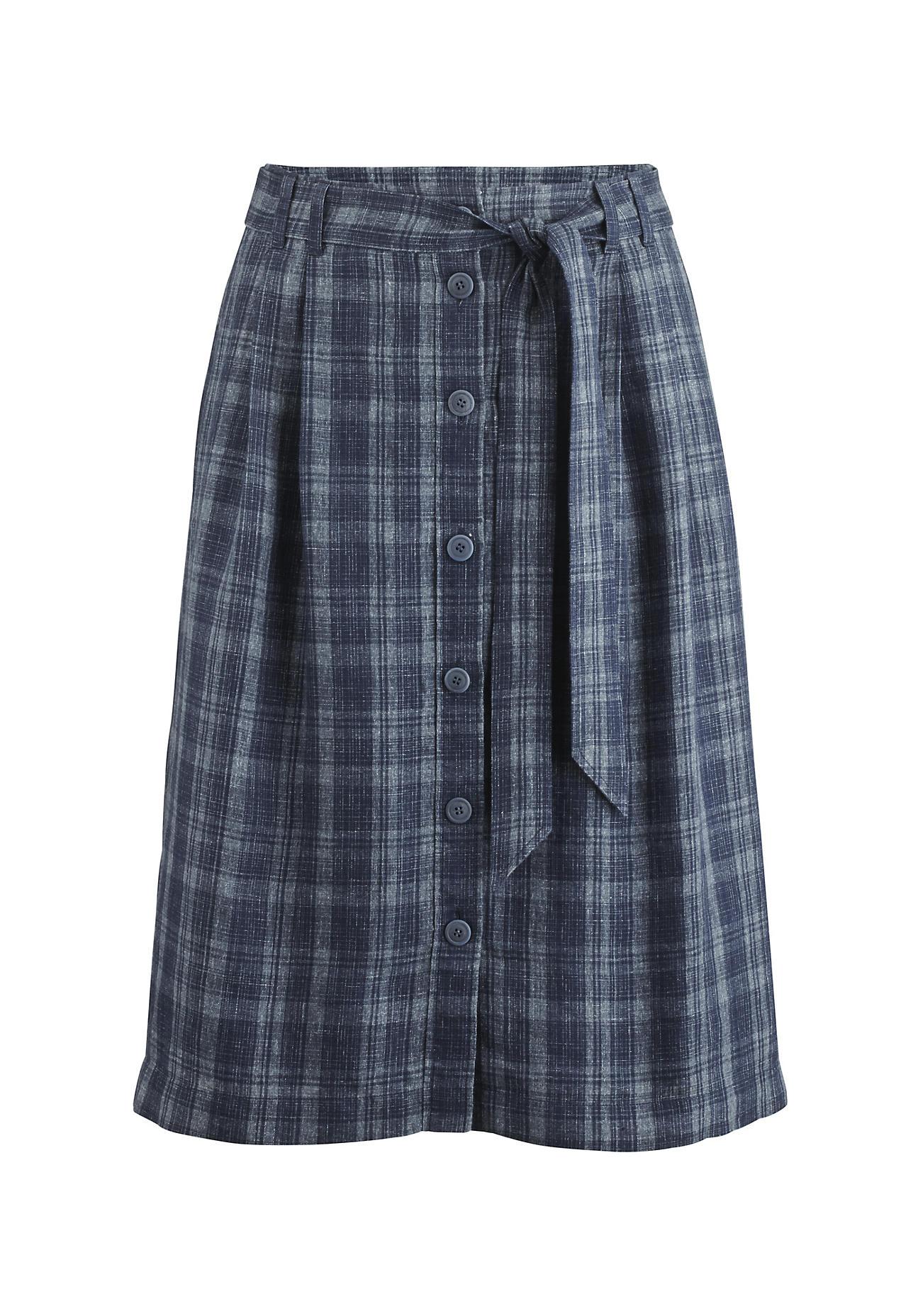 hessnatur Damen Karo-Rock aus Leinen mit Bio-Baumwolle – blau – Größe 40 | Bekleidung > Röcke > Karoröcke | hessnatur