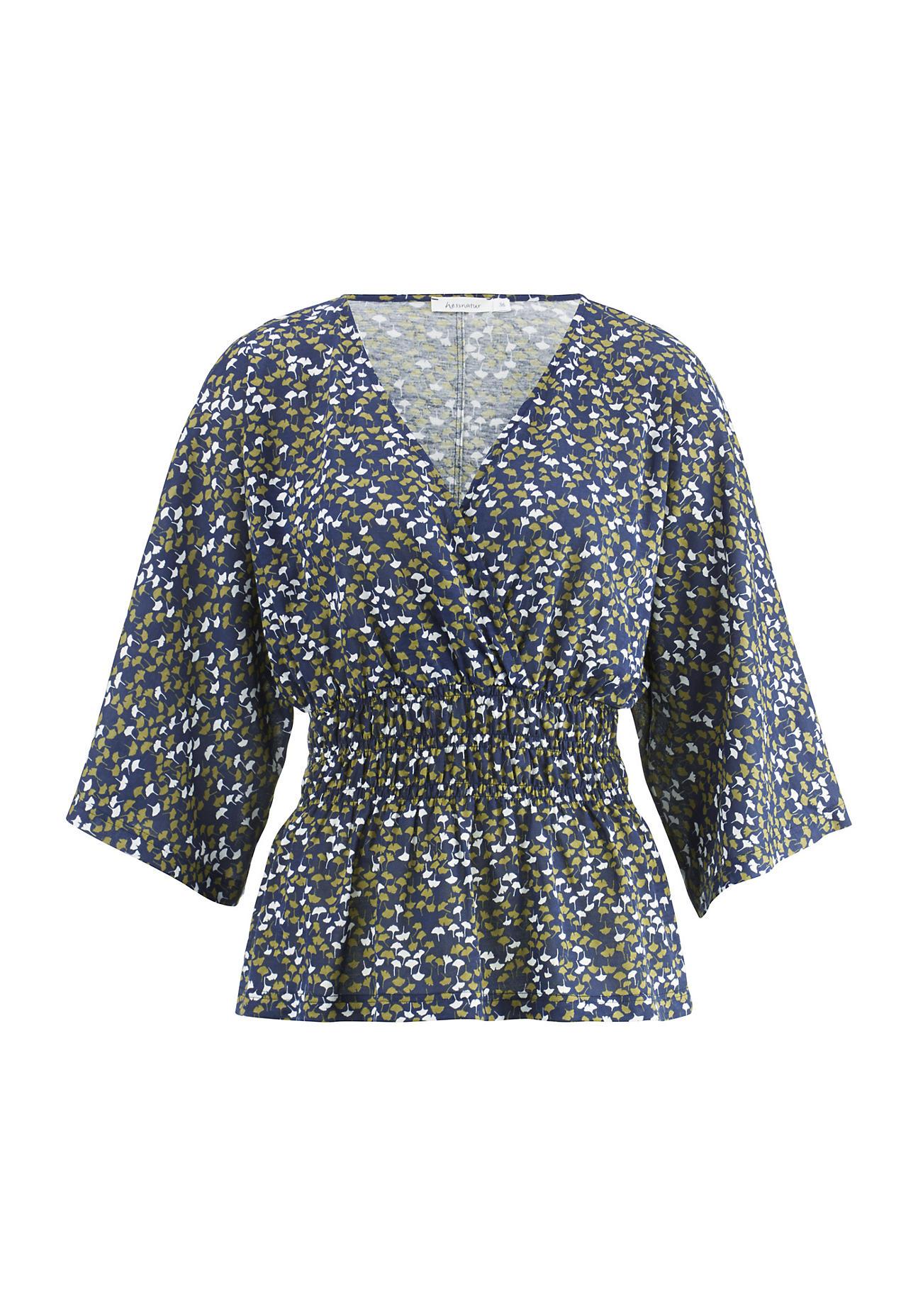 hessnatur Damen Kimono-Shirt aus Bio-Baumwolle – blau – Größe 38