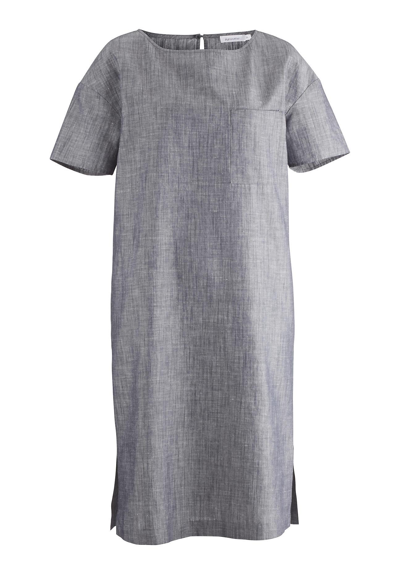 hessnatur Damen Kleid aus Bio Baumwolle mit Leinen – blau – Größe 38