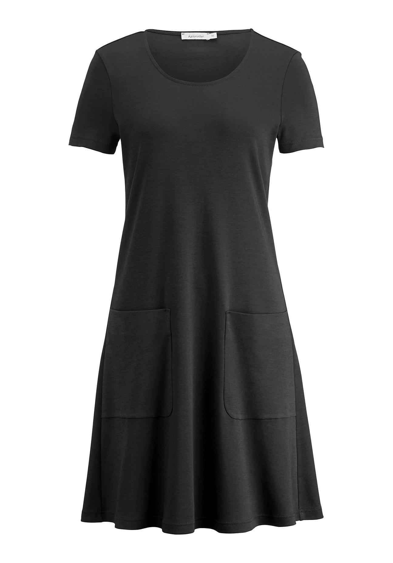Kleider - hessnatur Damen Kleid aus Bio Baumwolle – schwarz –  - Onlineshop Hessnatur