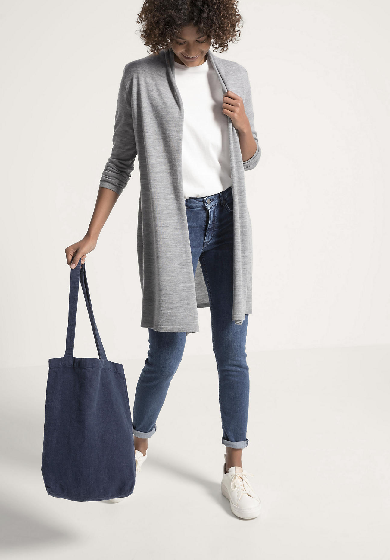 hessnatur Damen Kleiner Shopper aus Hessenleinen - blau Größe 40x34 cm