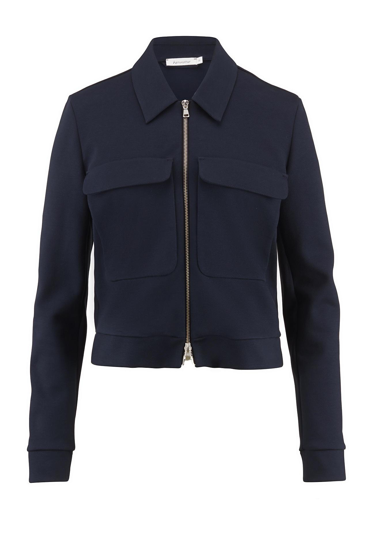 hessnatur Damen Kurz-Jacke aus Bio-Baumwolle – blau – Größe 48 | Bekleidung > Jacken > Kurzjacken | hessnatur