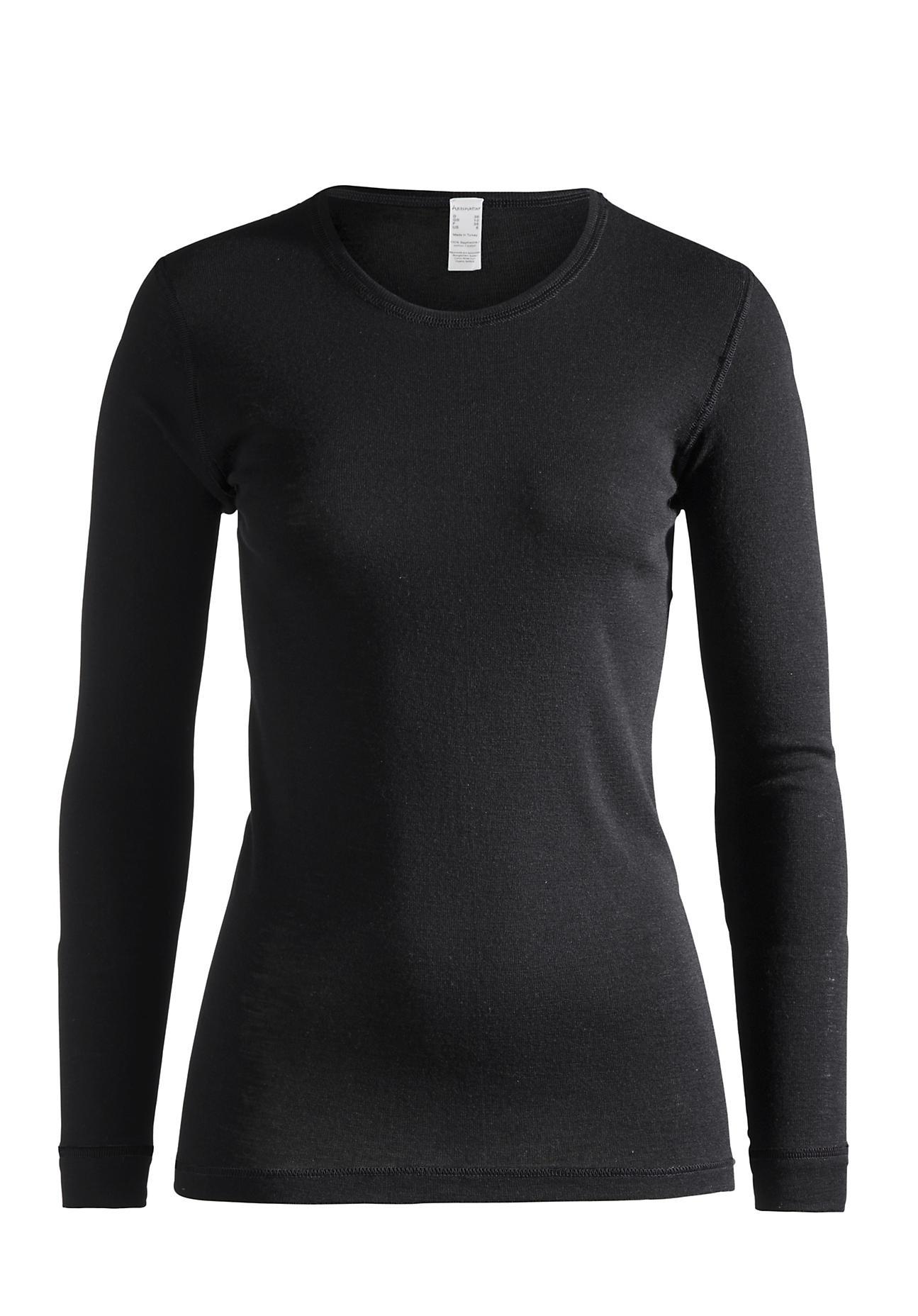 Waesche - hessnatur Damen Langarm Shirt PureWOOL aus Bio Merinowolle – schwarz – Größe 38  - Onlineshop Hessnatur