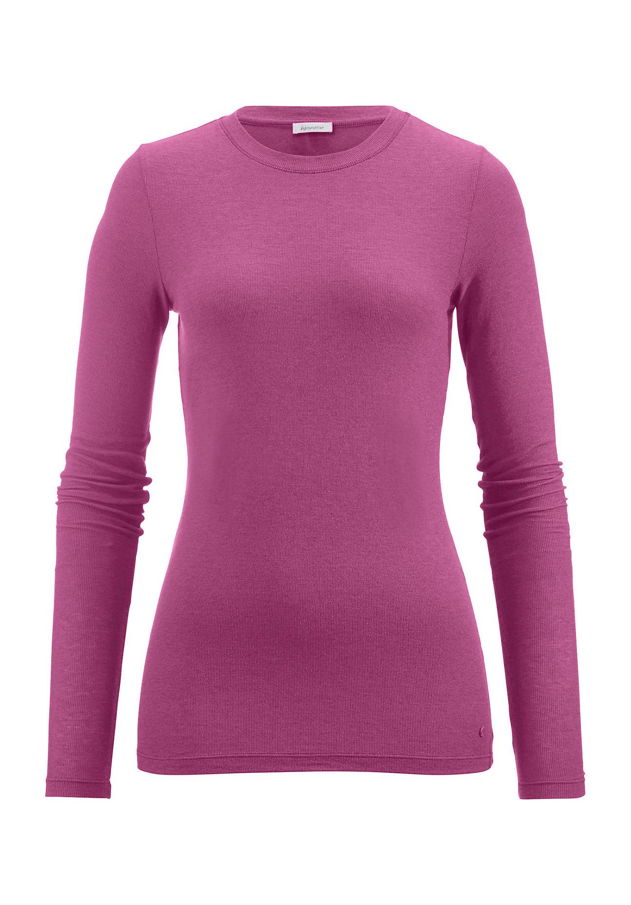 hessnatur Damen Langarm Shirt aus Modal mit Schurwolle – lila – Größe 38