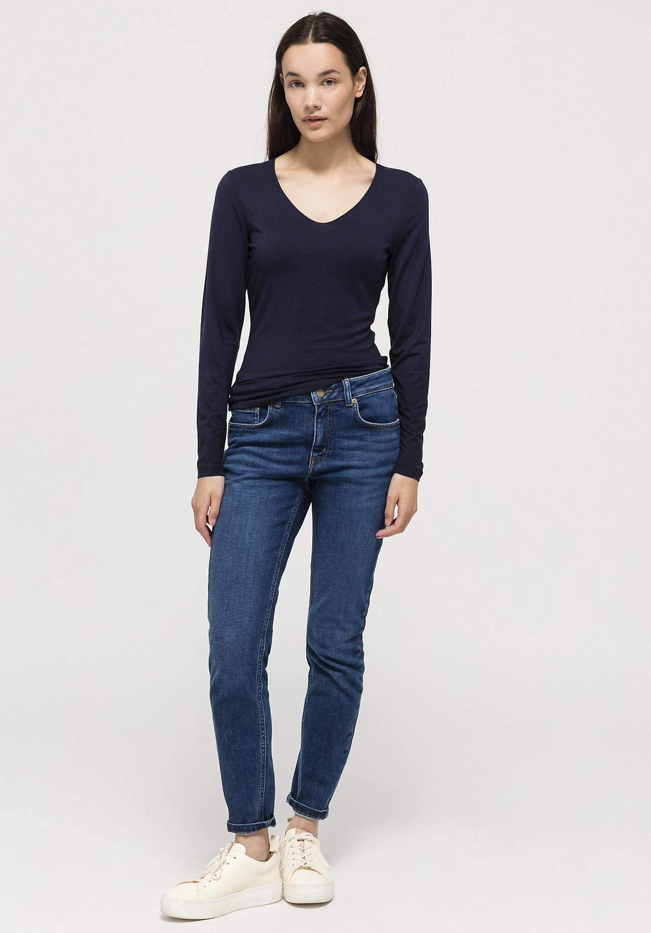 hessnatur Damen Langarm-Shirt aus TENCEL™Modal - blau Größe 36