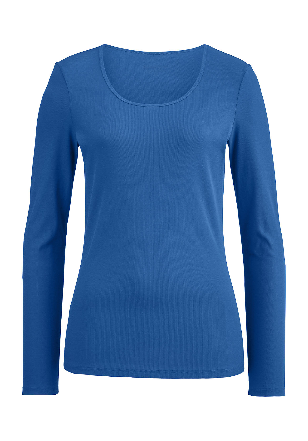 hessnatur Damen Langarm-Shirt aus Bio-Baumwolle – blau – Größe 36 | Bekleidung > Shirts > Langarmshirts | hessnatur