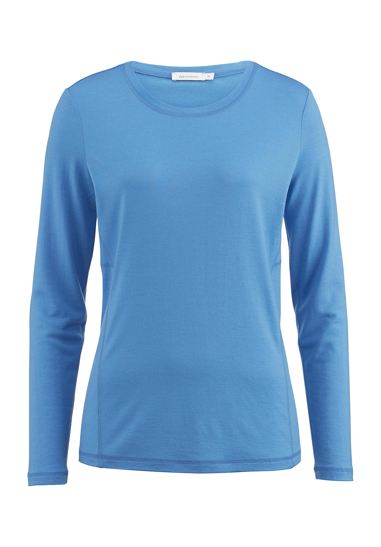 hessnatur -  Outdoor Langarm-Shirt für Sie aus Bio-Merinowolle – blau – Größe 34