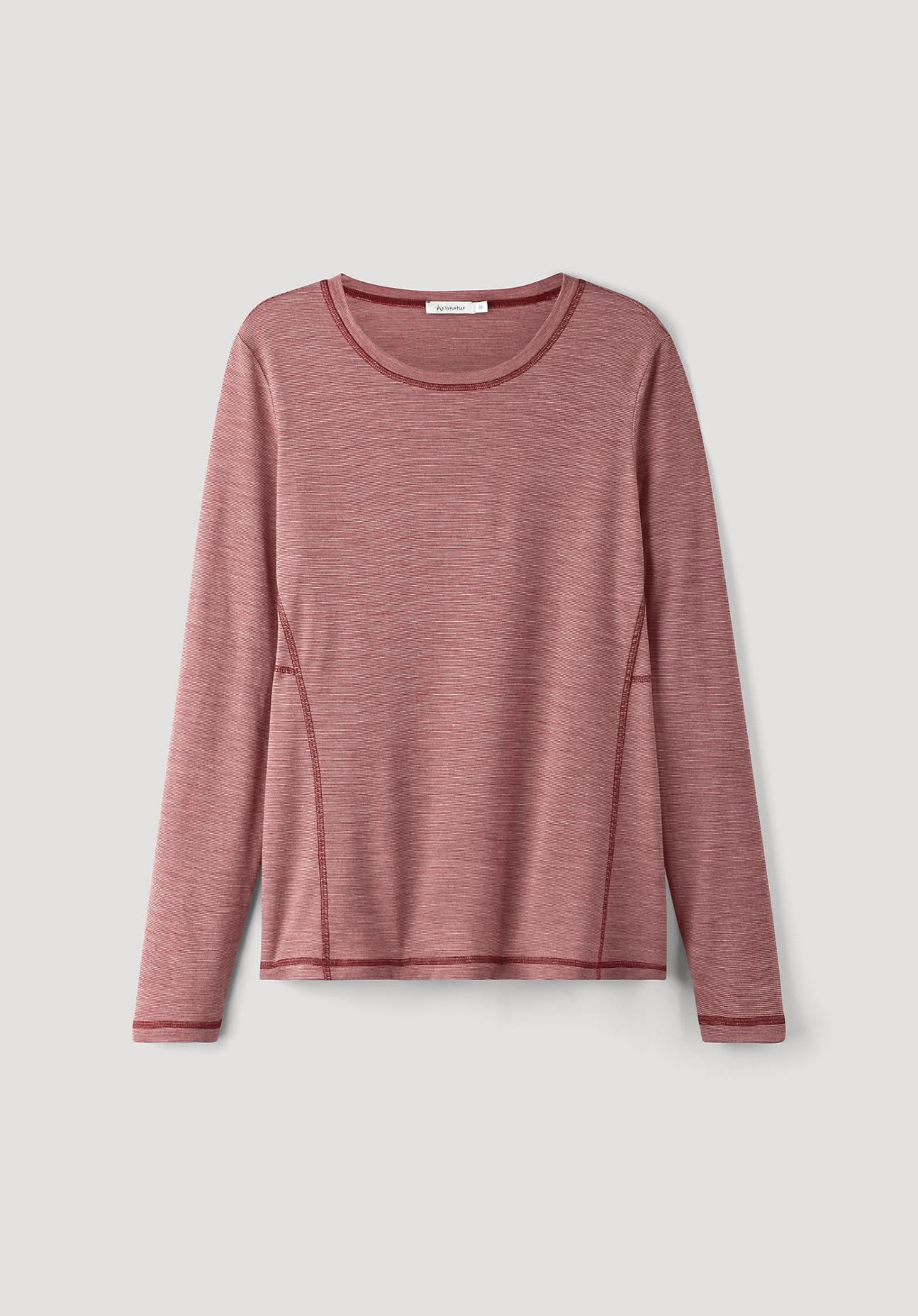 hessnatur Damen-Outdoor Langarmshirt aus Bio-Merinowolle - rot Größe 40