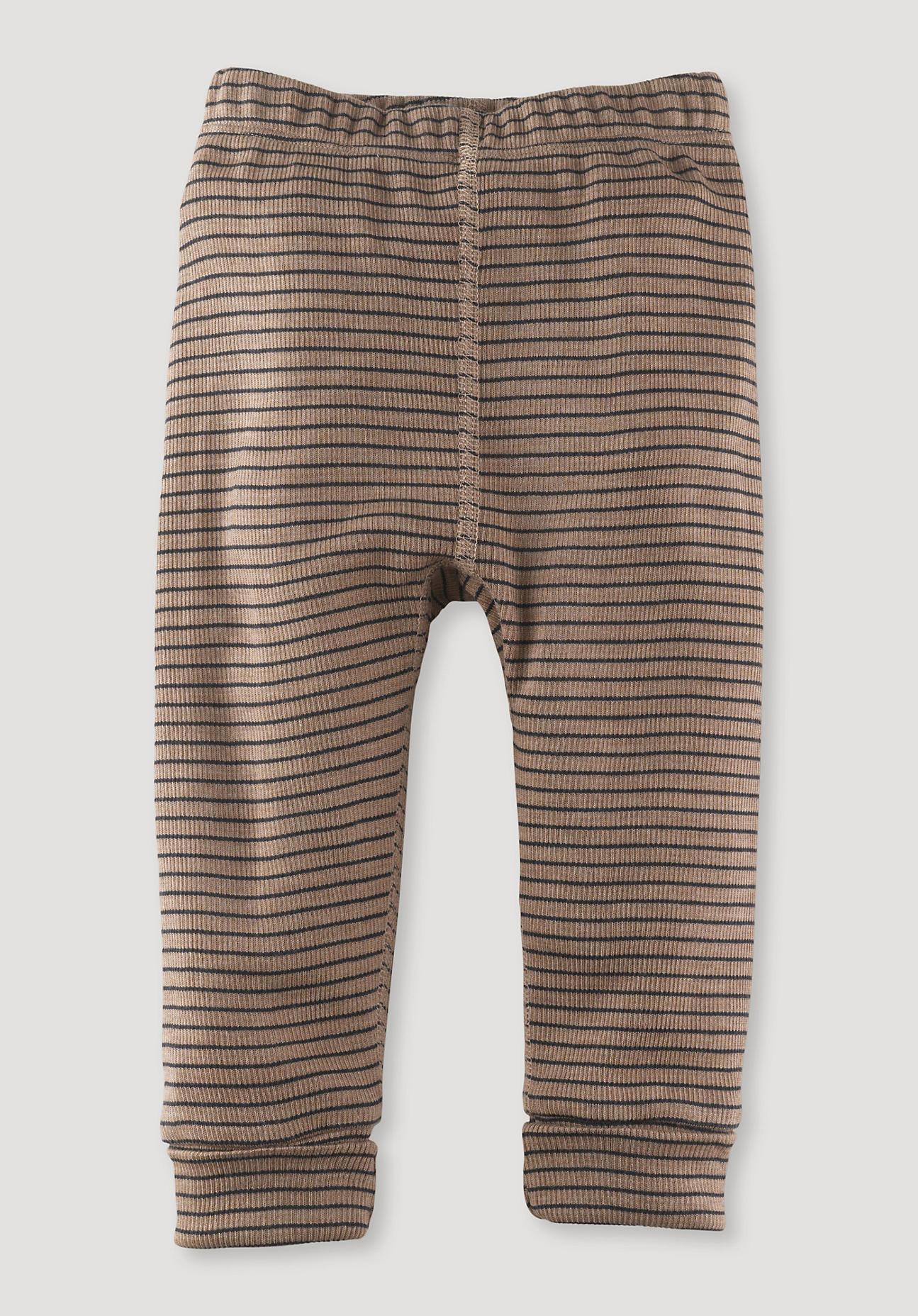 hessnatur Baby Lange Unterhose aus Bio-Merinowolle und Seide - braun Größe 86/92