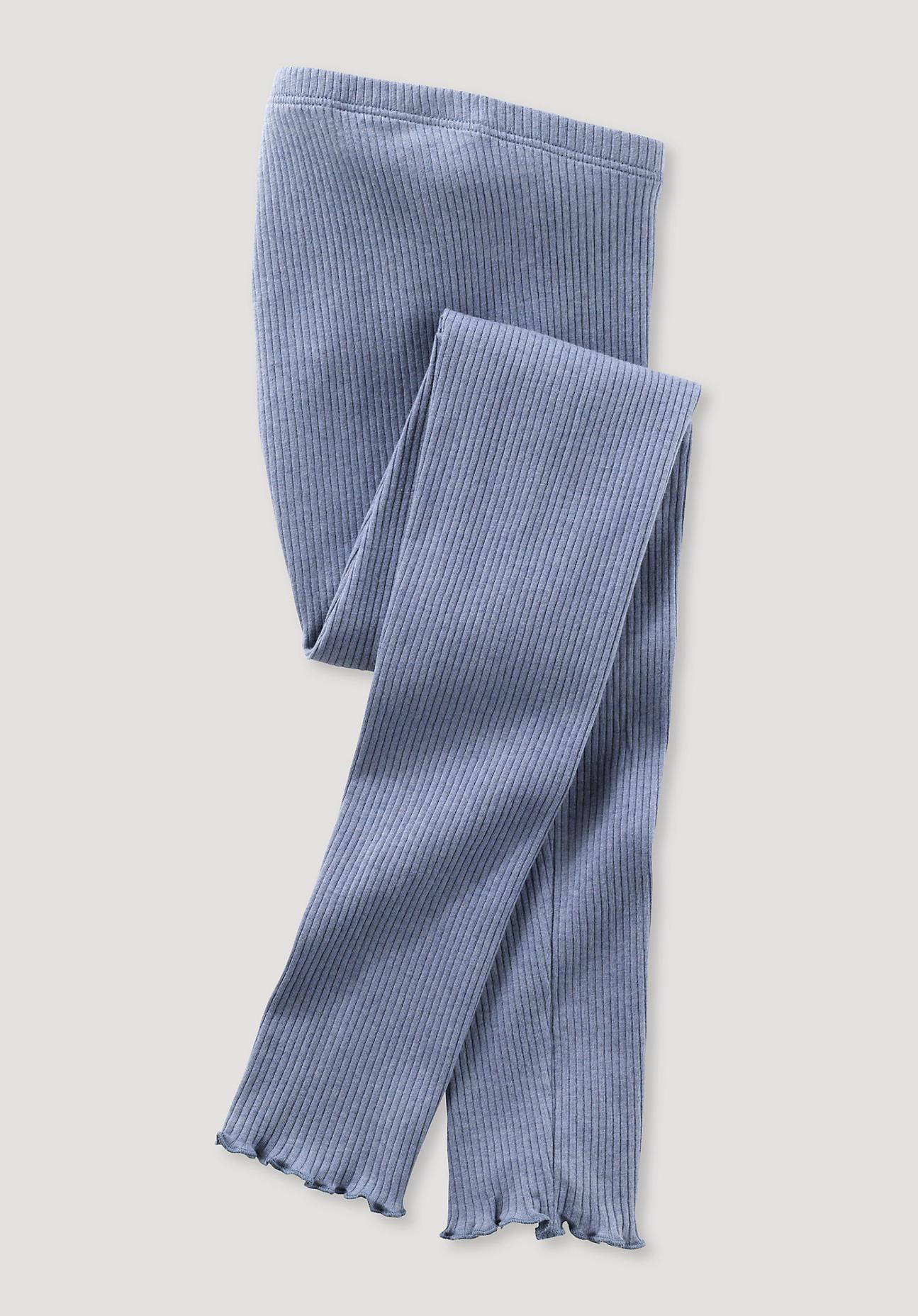 hessnatur Kinder Leggings aus Bio-Baumwolle mit Bio-Schurwolle - blau Größe 98/104
