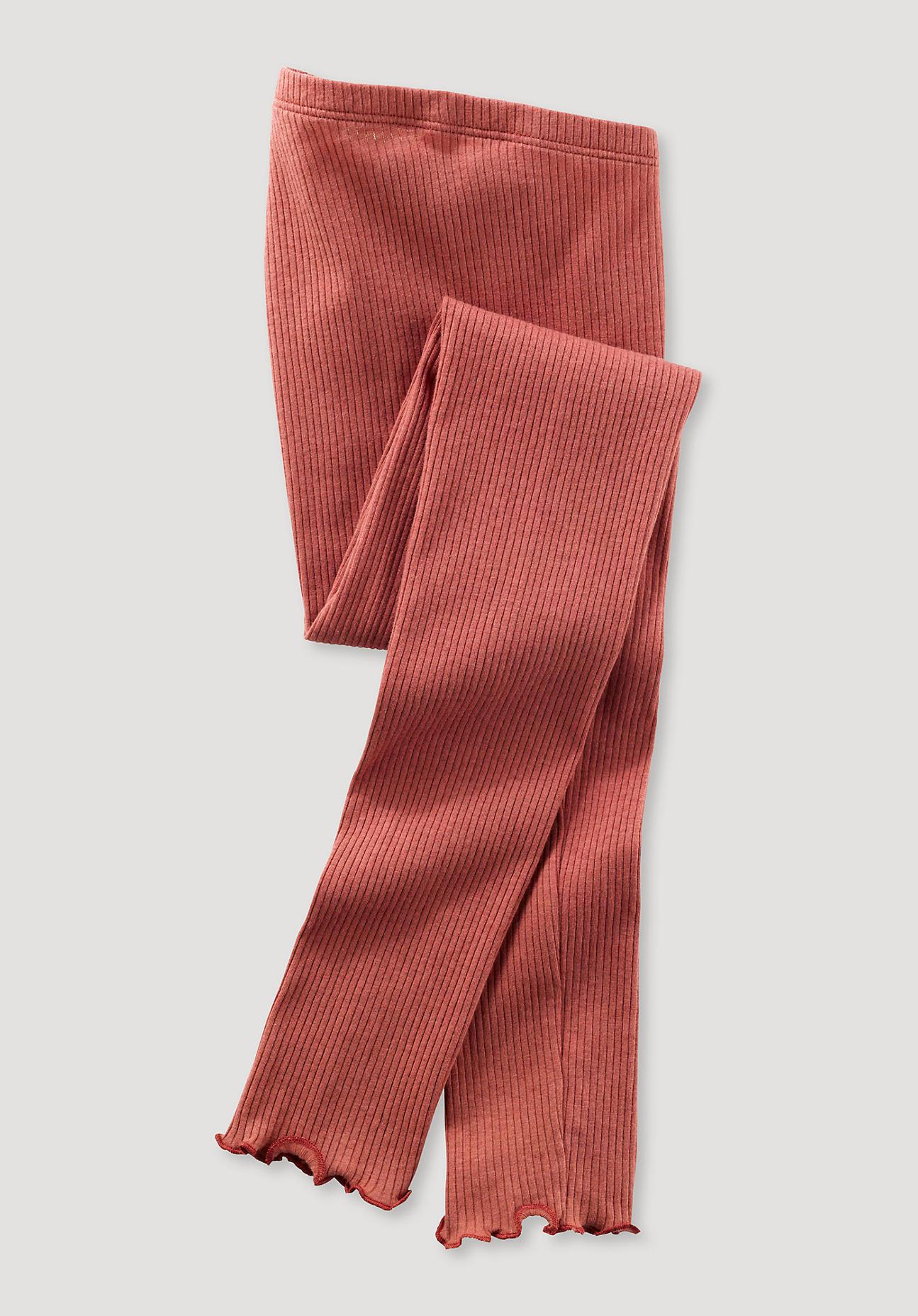 hessnatur Kinder Leggings aus Bio-Baumwolle mit Bio-Schurwolle - braun Größe 98/104