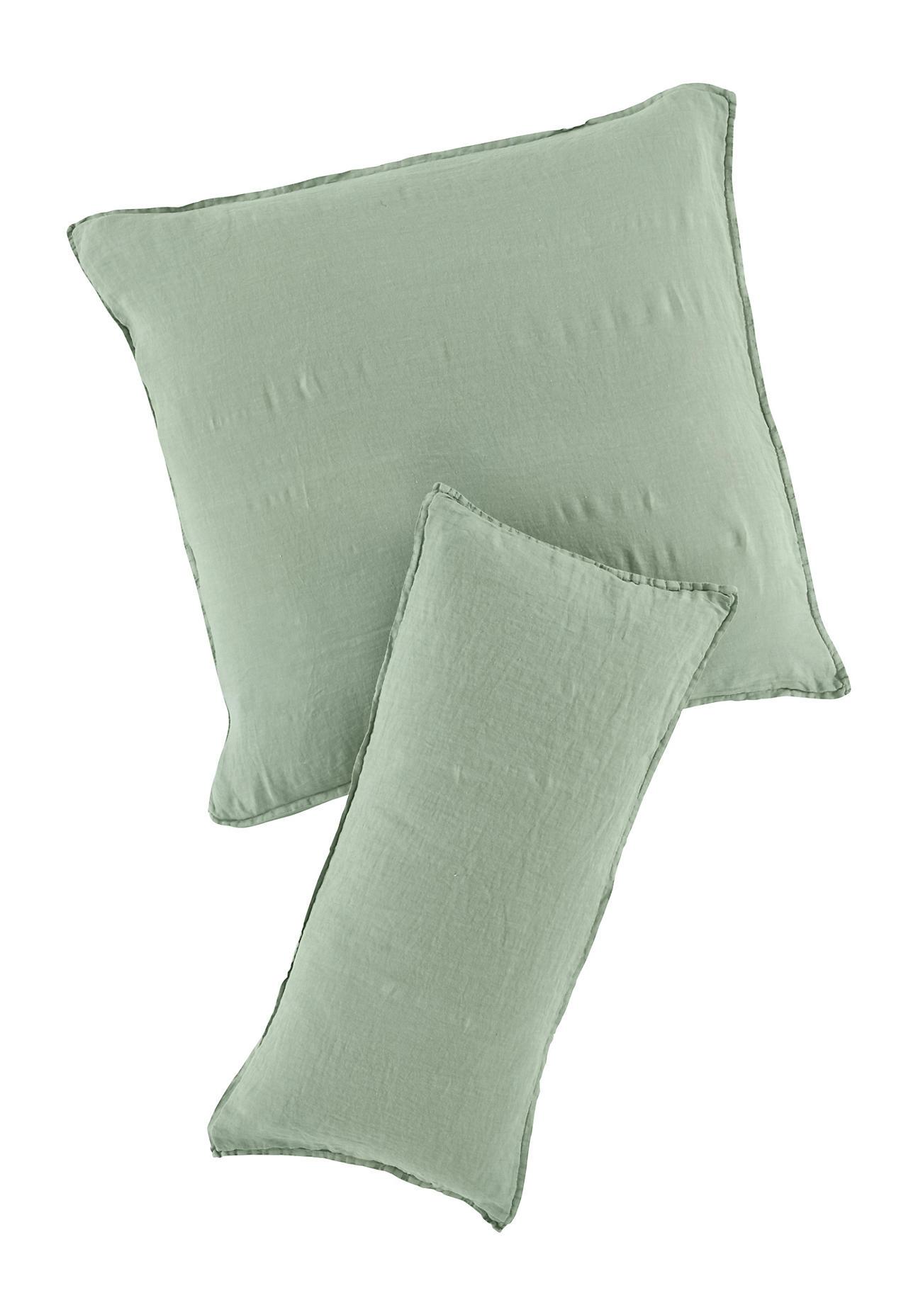 hessnatur Leinen-Kissenbezug – grün – Größe 80x80 cm