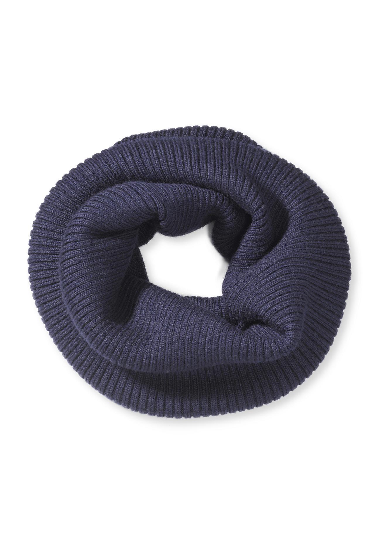 hessnatur Loop-Schal aus Merinowolle – blau – Größe 22x36 cm
