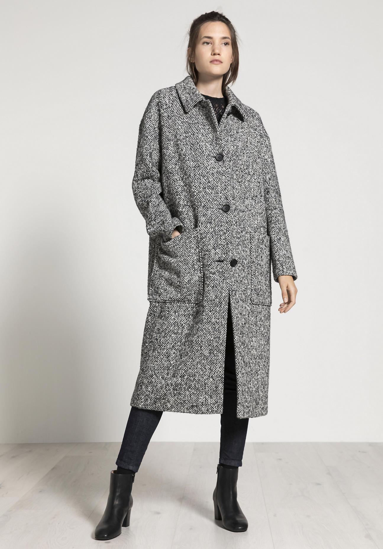 hessnatur Damen Maxi-Mantel aus Schurwolle - schwarz Größe 34