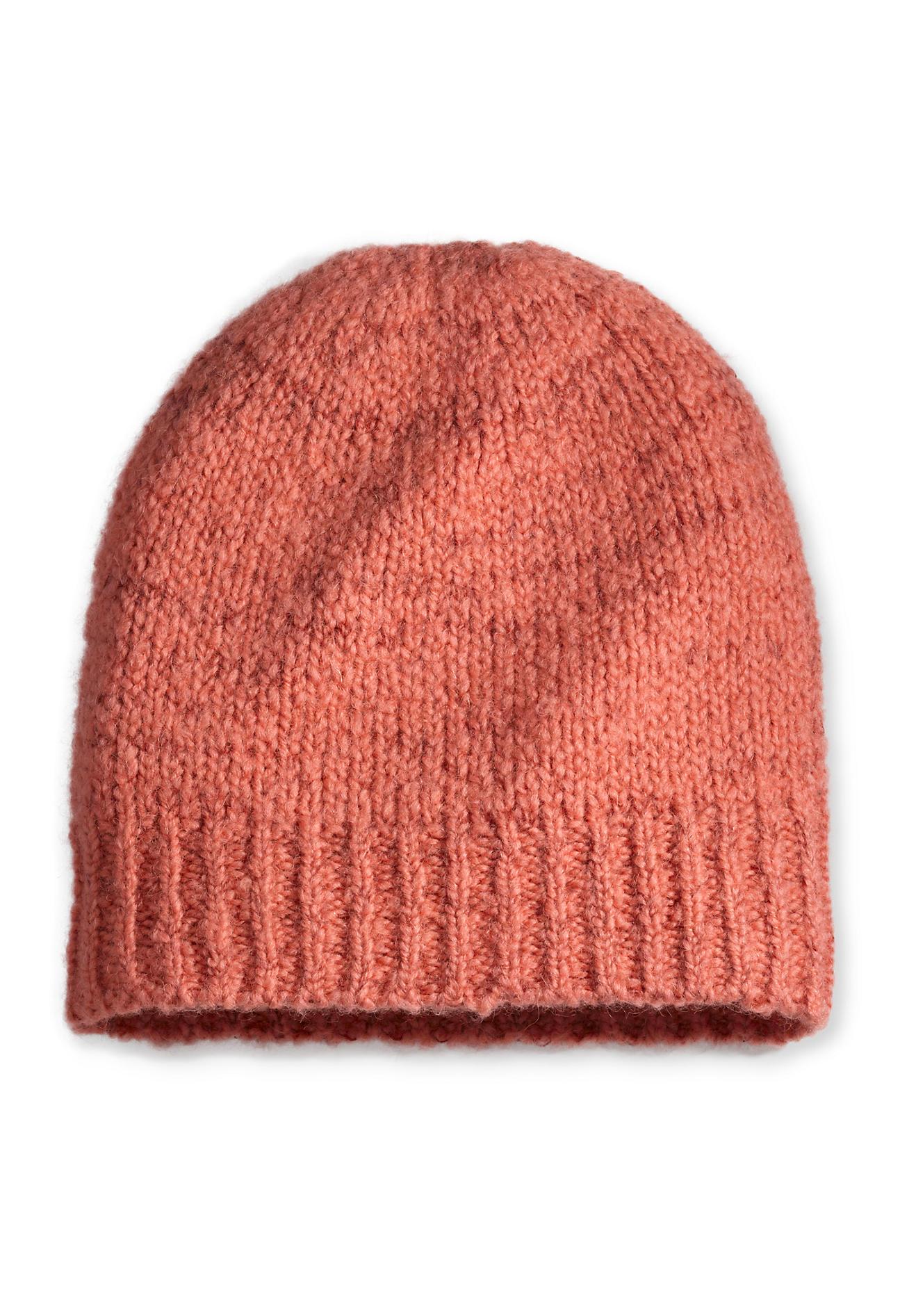 Muetzen für Frauen - hessnatur Damen Mütze aus Schurwolle mit Alpaka und Bio Baumwolle – orange –  - Onlineshop Hessnatur