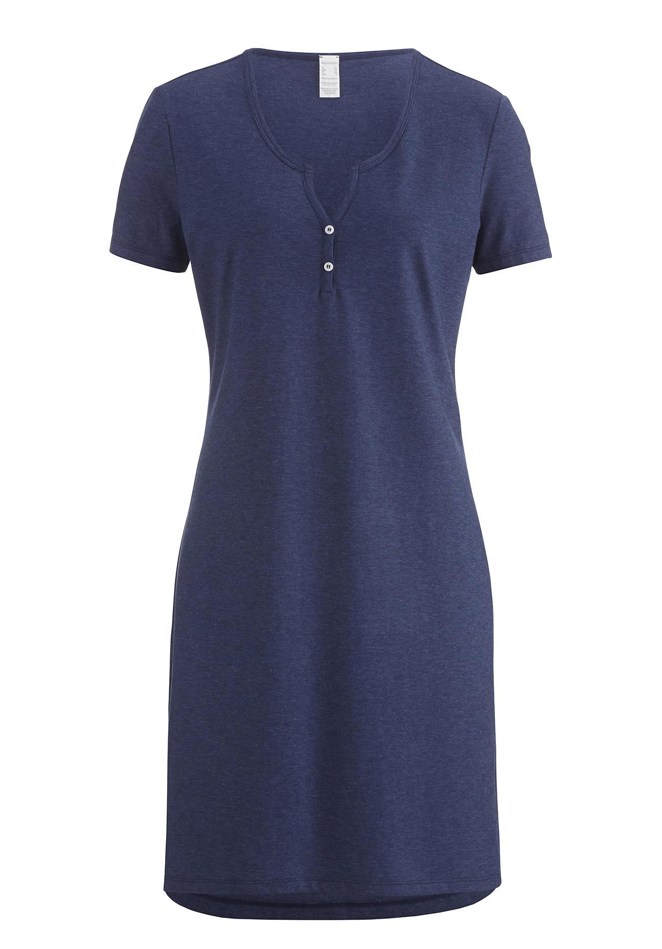 Waesche für Frauen - hessnatur Damen Nachthemd aus Bio Baumwolle – blau – Größe 38  - Onlineshop Hessnatur