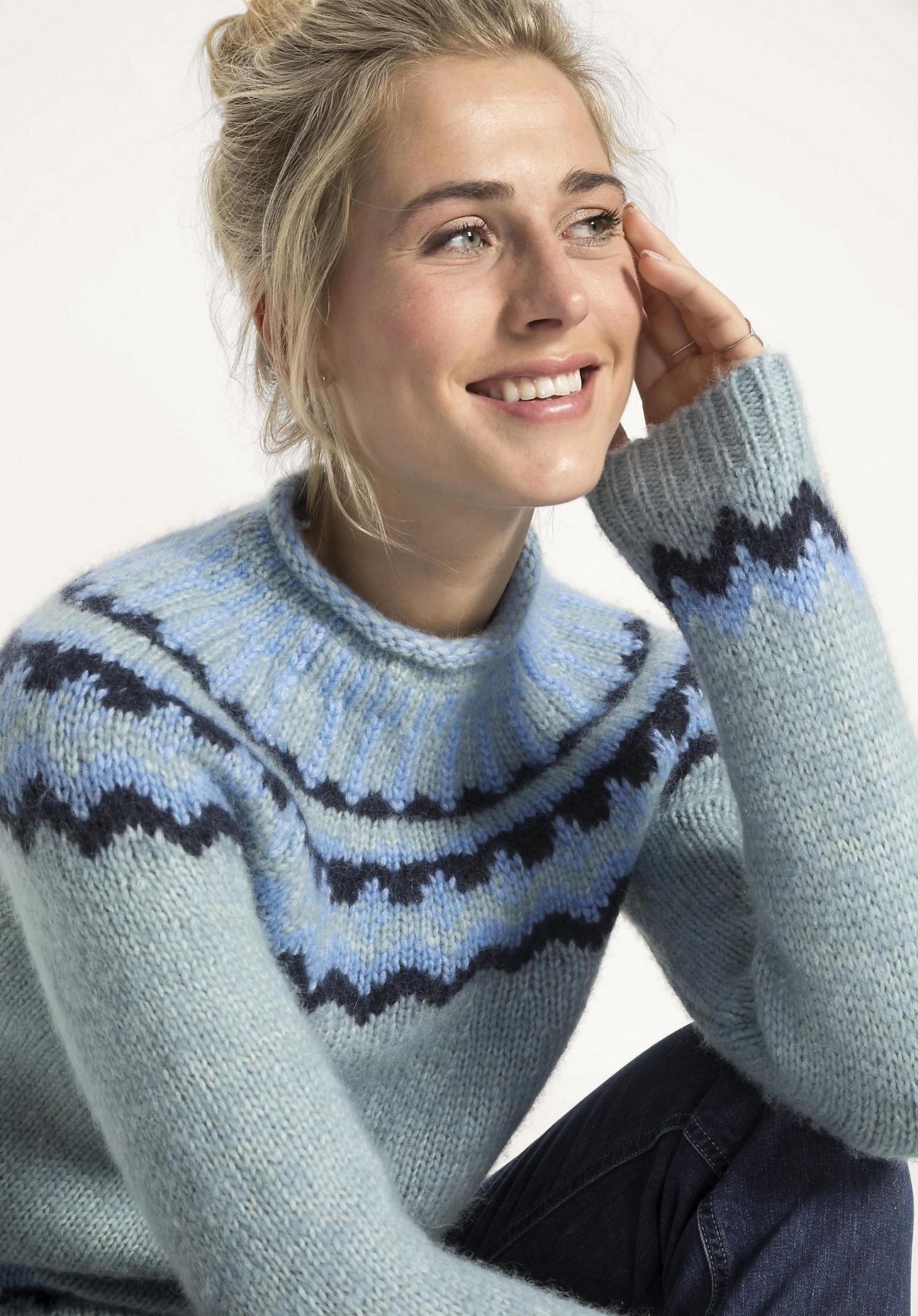 hessnatur Damen Norweger-Pullover aus Alpaka mit Baumwolle und Schurwolle - perlgrün - Größe 46